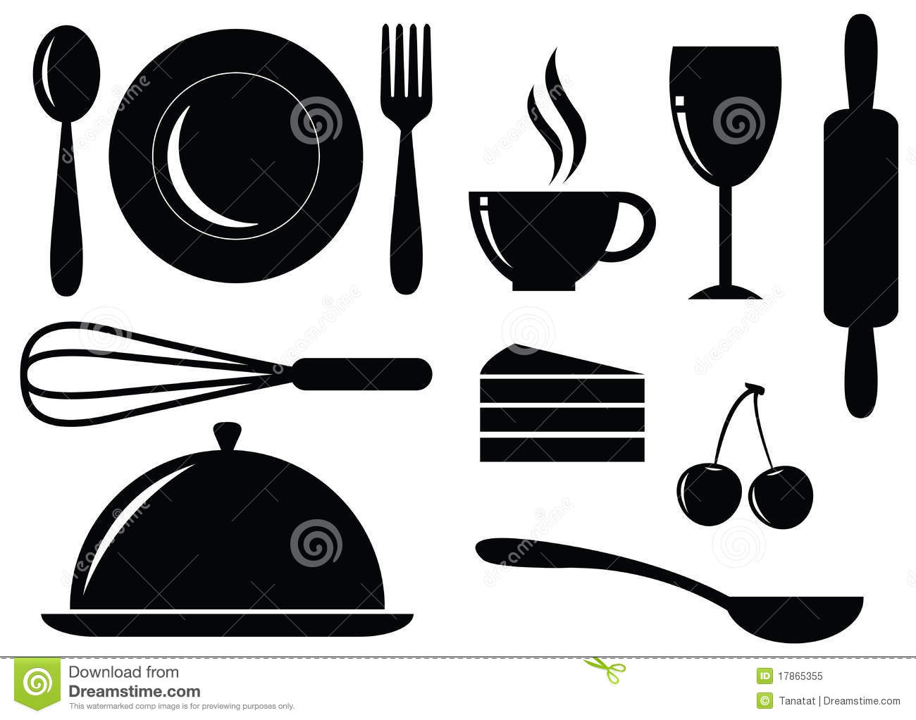 ... Silhouette of food,drink,bakery and coffee icons on white background: www.dreamstime.com/royalty-free-stock-photo-vector-silhouette-food...