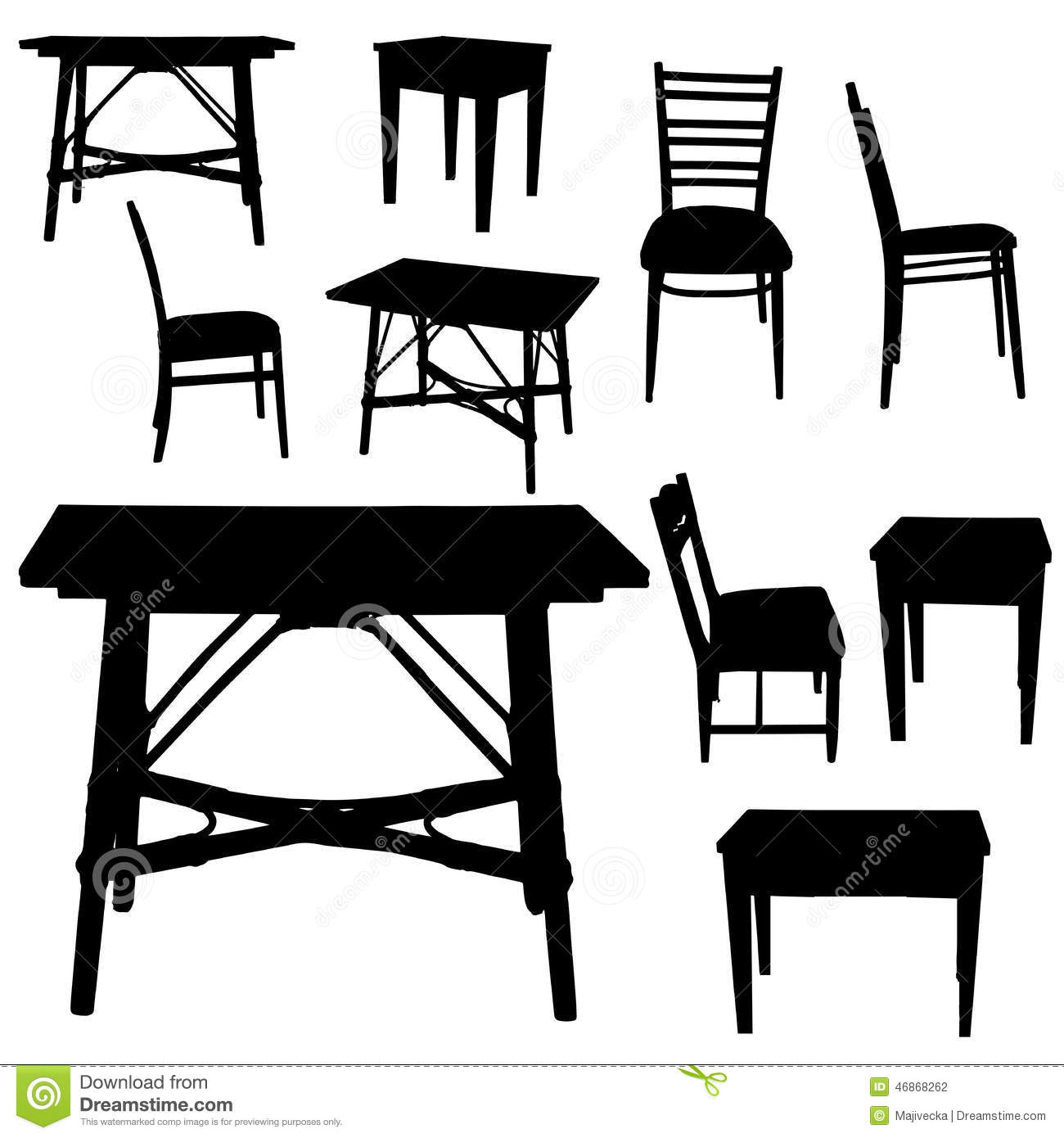 Antique chair silhouette - Vector Silhouette Of Furniture Stock Photography