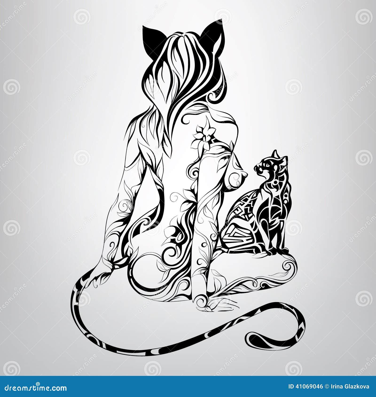 Черно белые тату кошек и