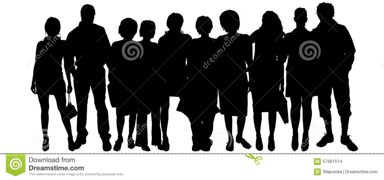 Vector Silhouette Of A Group Of People. Stock Illustration ...