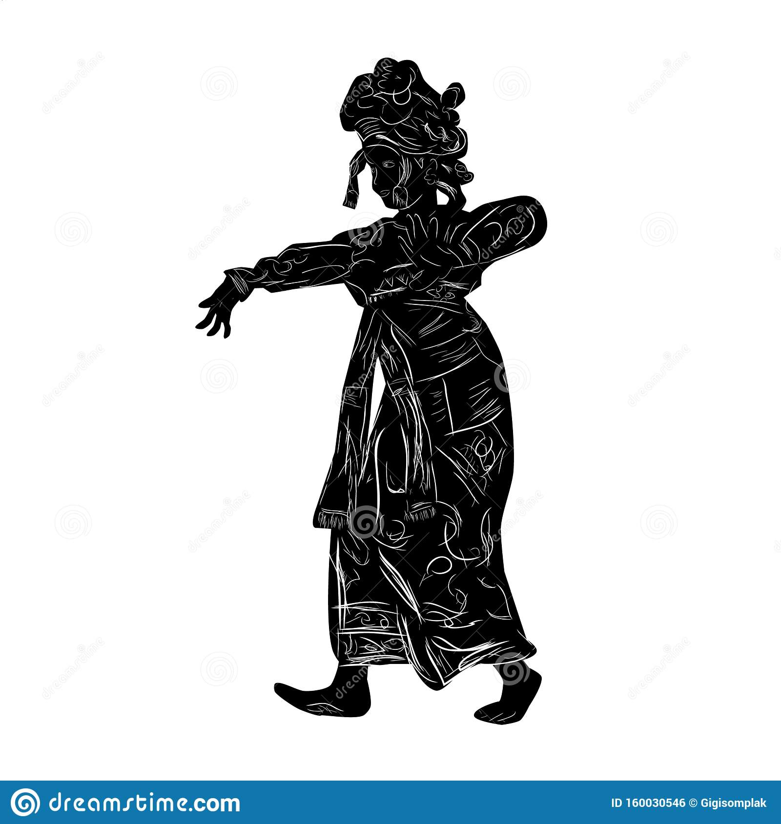 Simple Vector Silhouette And Hand Draw Sketch Young Girl Traditional Bali Indonesia Traditional Dancer Isolated On White Stock Vector Illustration Of Attraction Classic 160030546