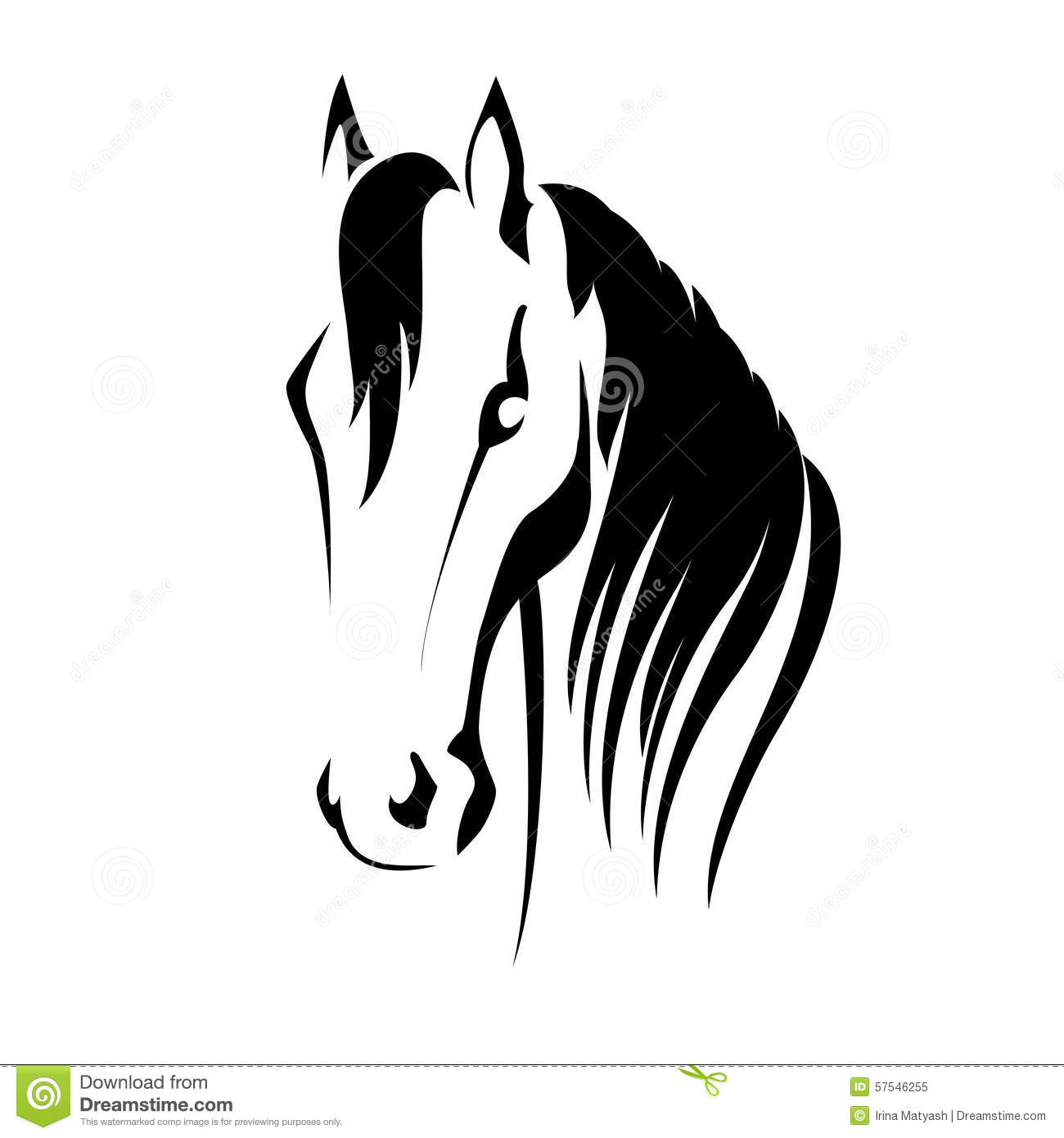 Horse head with flying mane vector illustration.