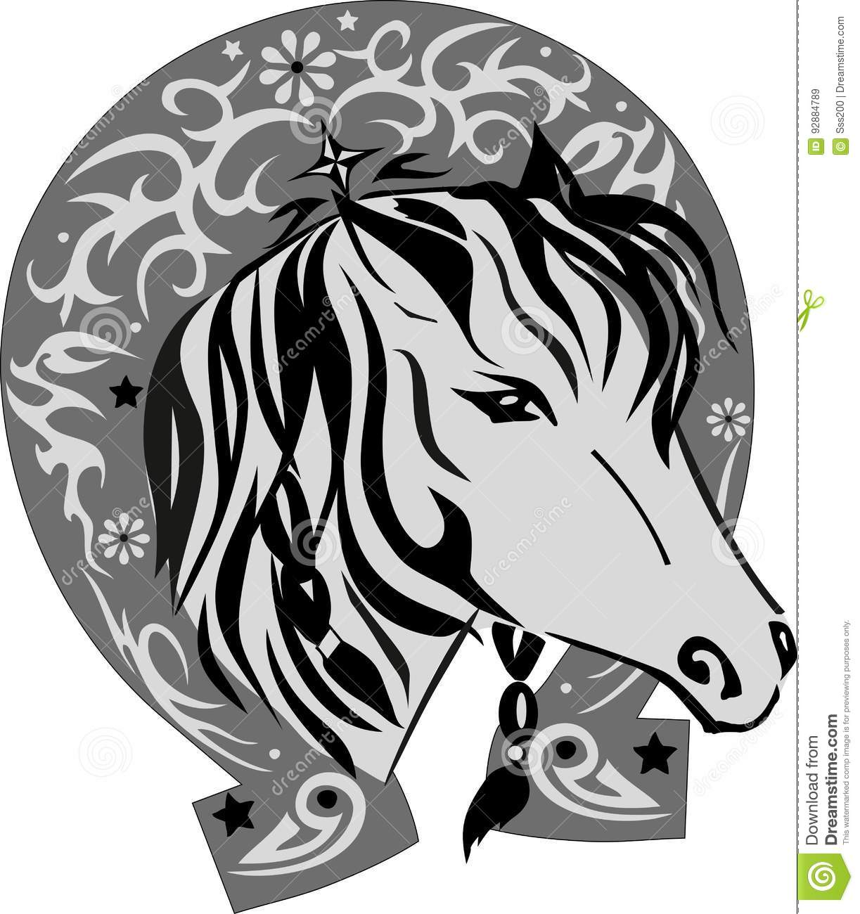 Vector silhouette of a horse with a horseshoe a pet with a good vector silhouette of a horse with a horseshoe a pet with a good luck symbol a horse illustration the head a pattern on an iron biocorpaavc Choice Image