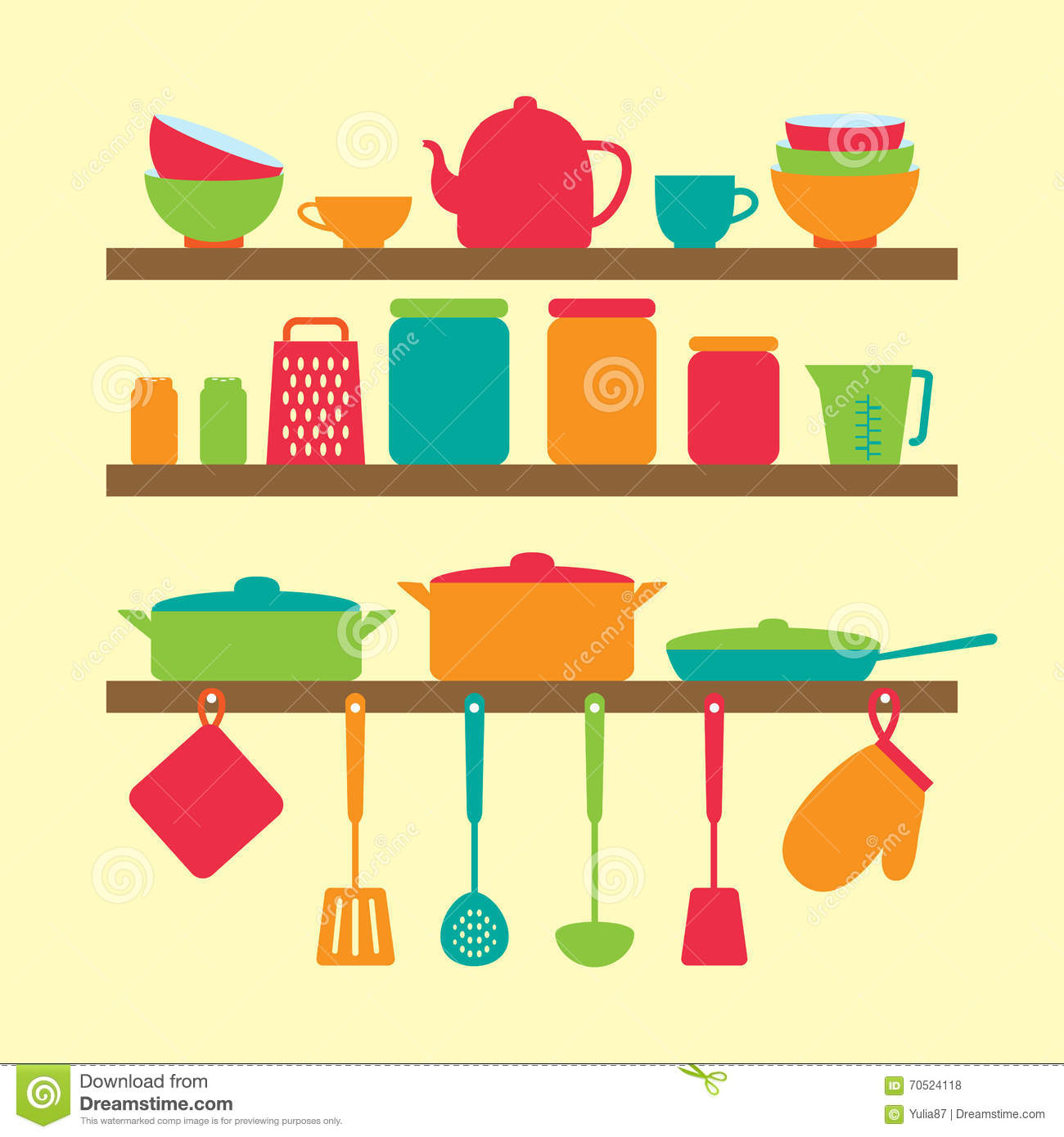 Vector silhouette of kitchen tools stock vector image for Colorful kitchen tools