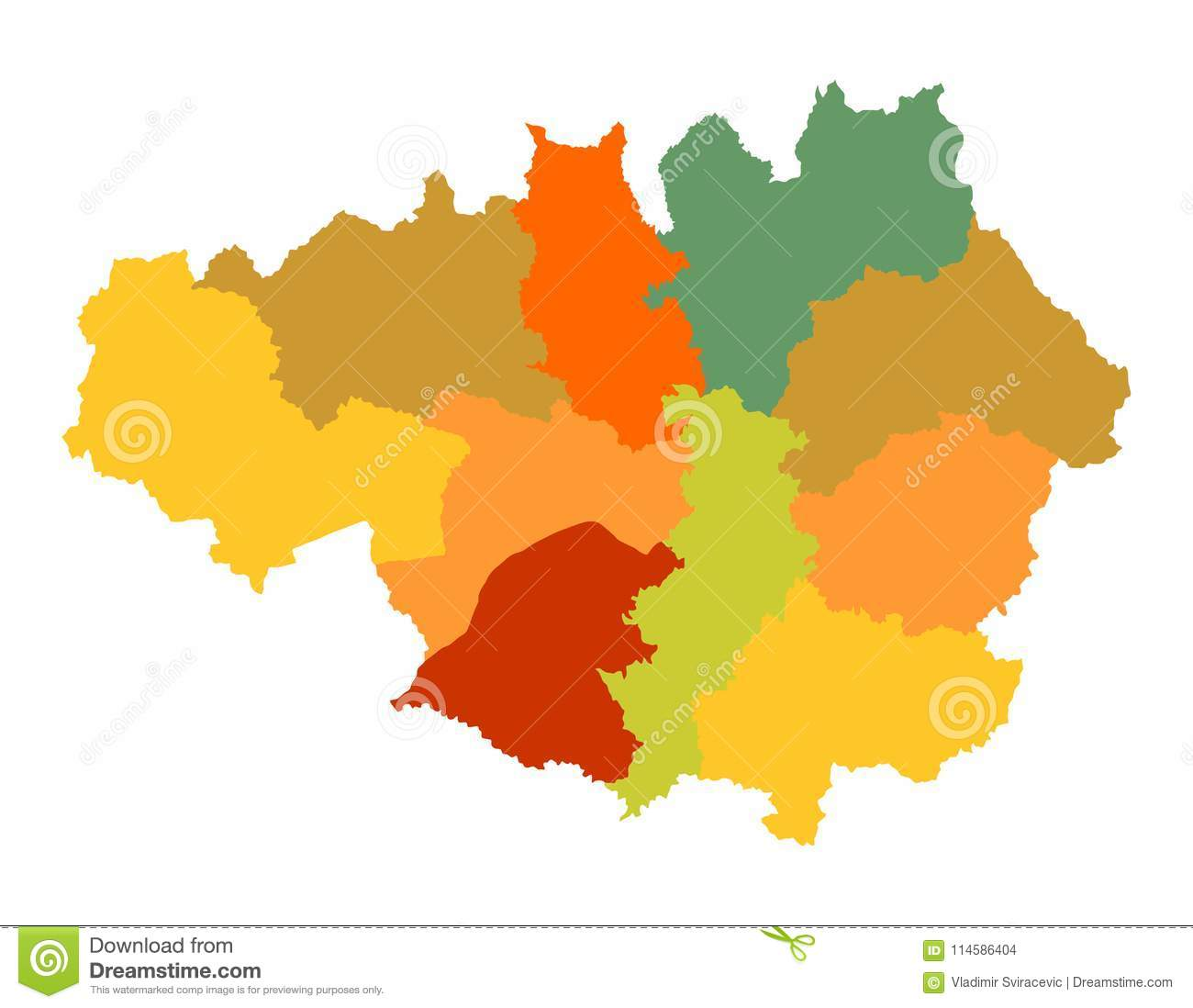 Manchester World Map.Vector Silhouette Map Of Greater Manchester In North West England