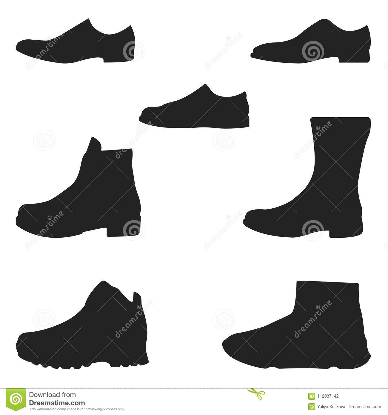 0b6ff902c68a Set of icons of footwear. stock vector. Illustration of silhouette ...