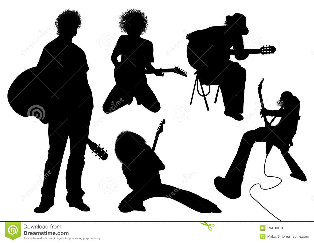 Silhouette Of Musician With Guitar Stock Image ...