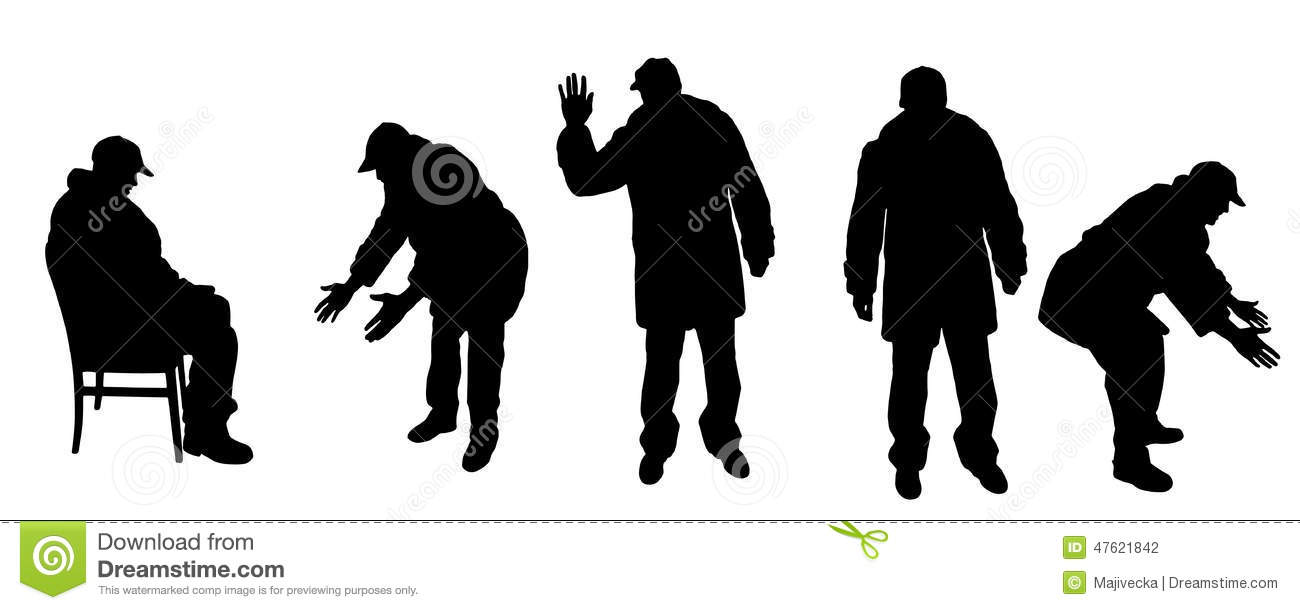 Vector Silhouette Old Man. Older, Icon.