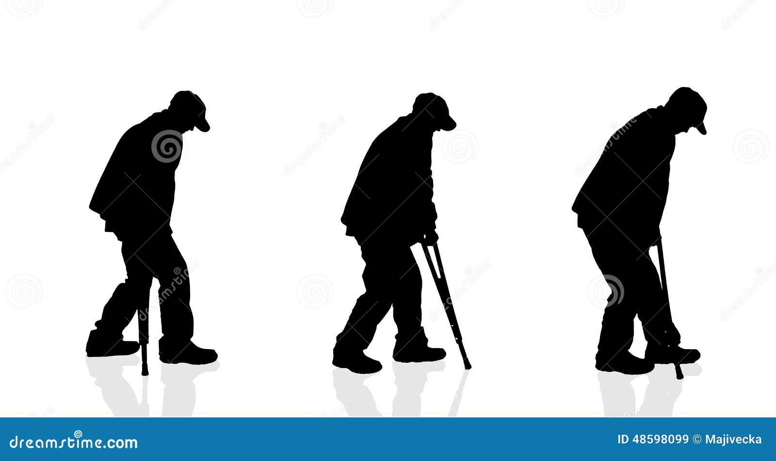 Vector Silhouette Of A Old Man. Cartoon Vector ...