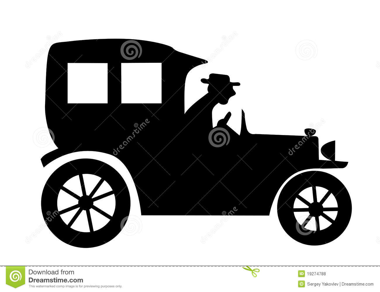 Old car silhouette vector 11