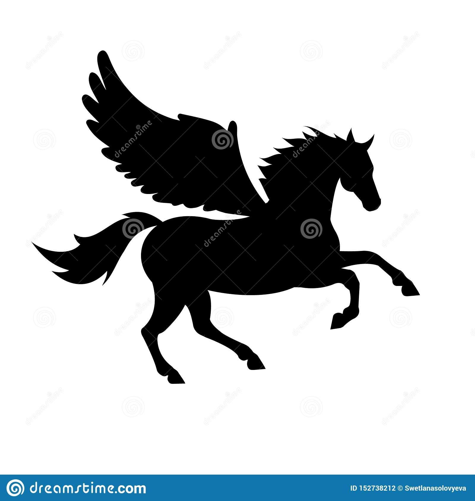 Vector Silhouette Of Pegasus Horse With Wings Stock Vector Illustration Of Power Mythology 152738212