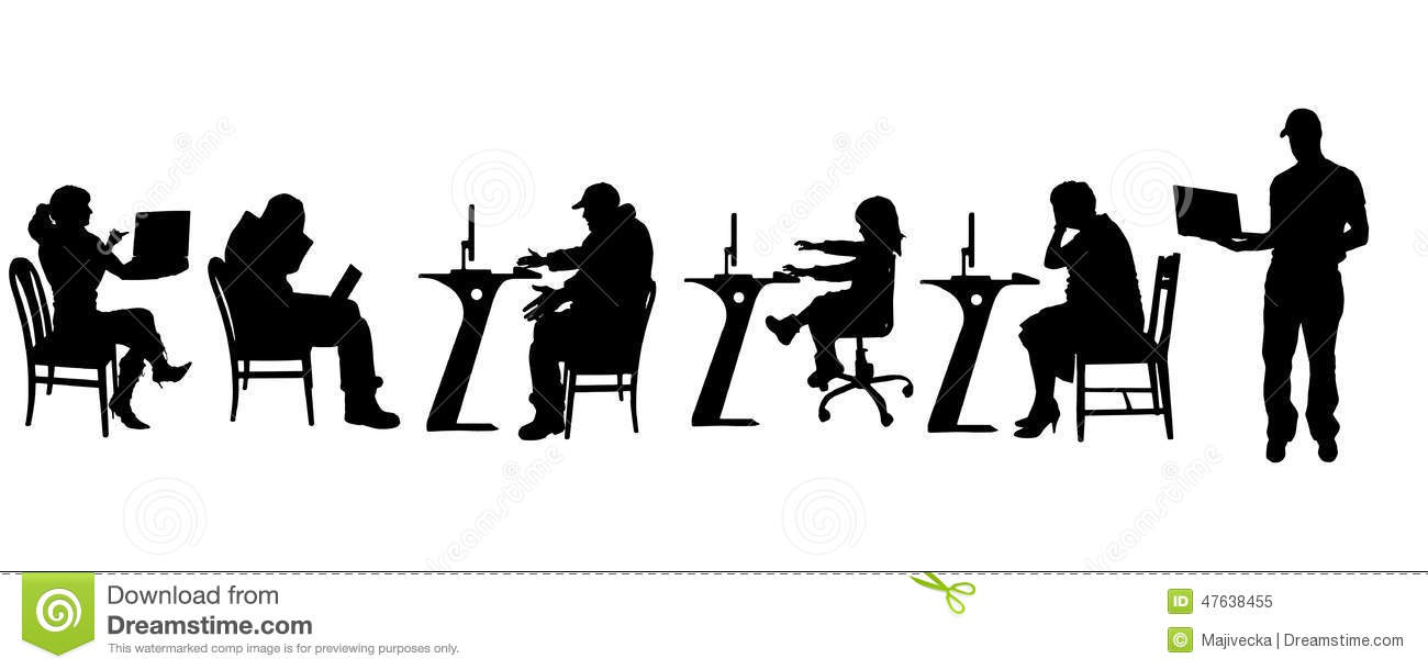 Vector Silhouette Of A People With A Computer. Stock ...