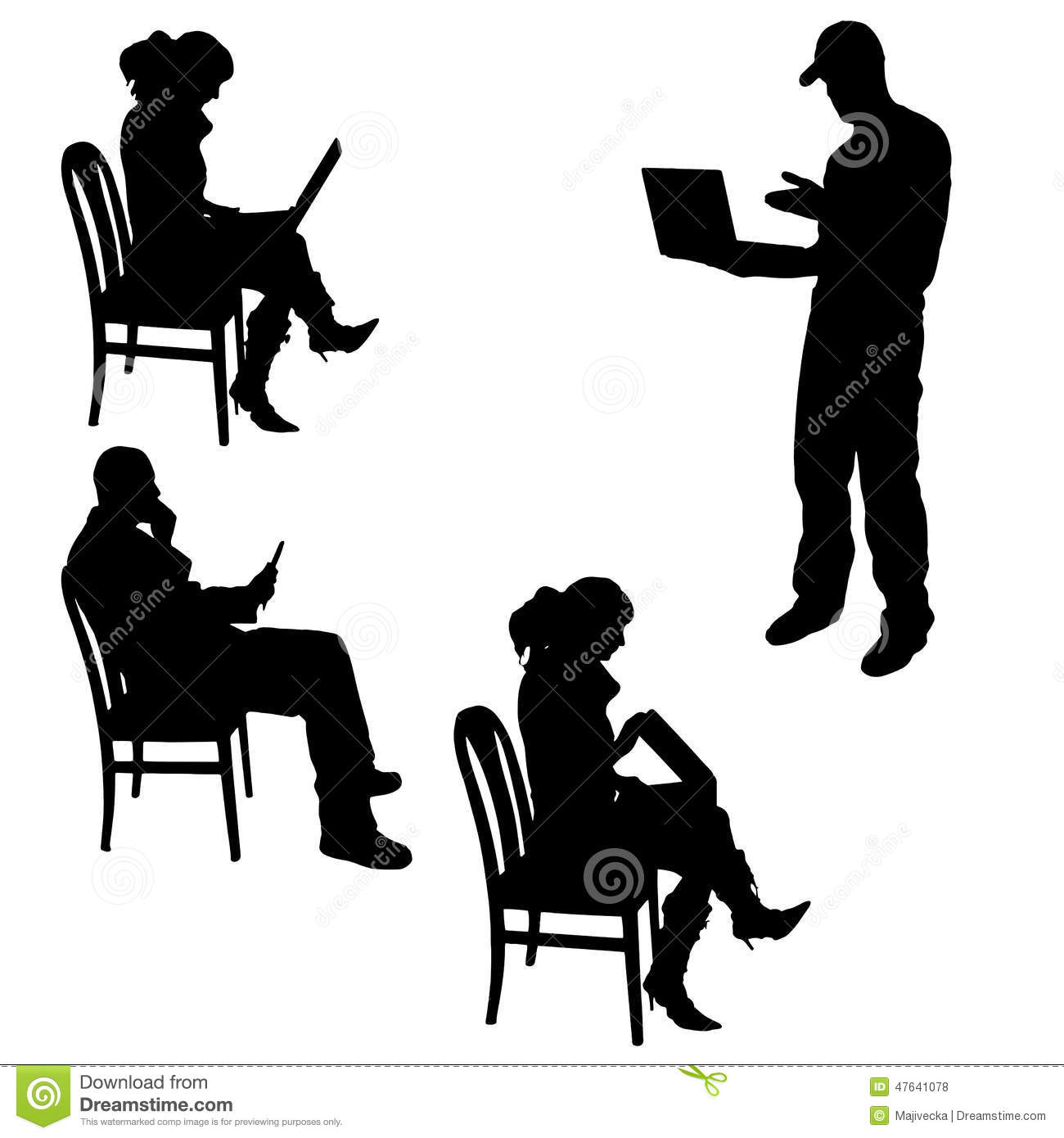 Vector Silhouette Of A People With A Computer. Stock ...  Vector Silhouet...
