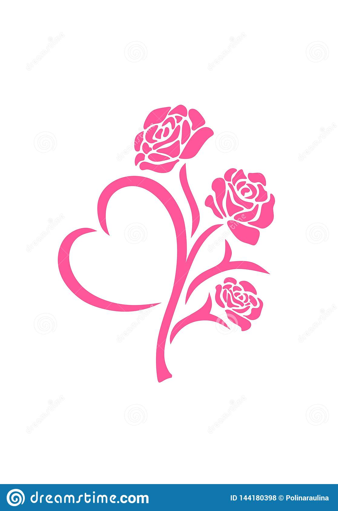 Vector silhouette of a pink roses flower in tattoo style with heart-shaped leaf isolated on white background.