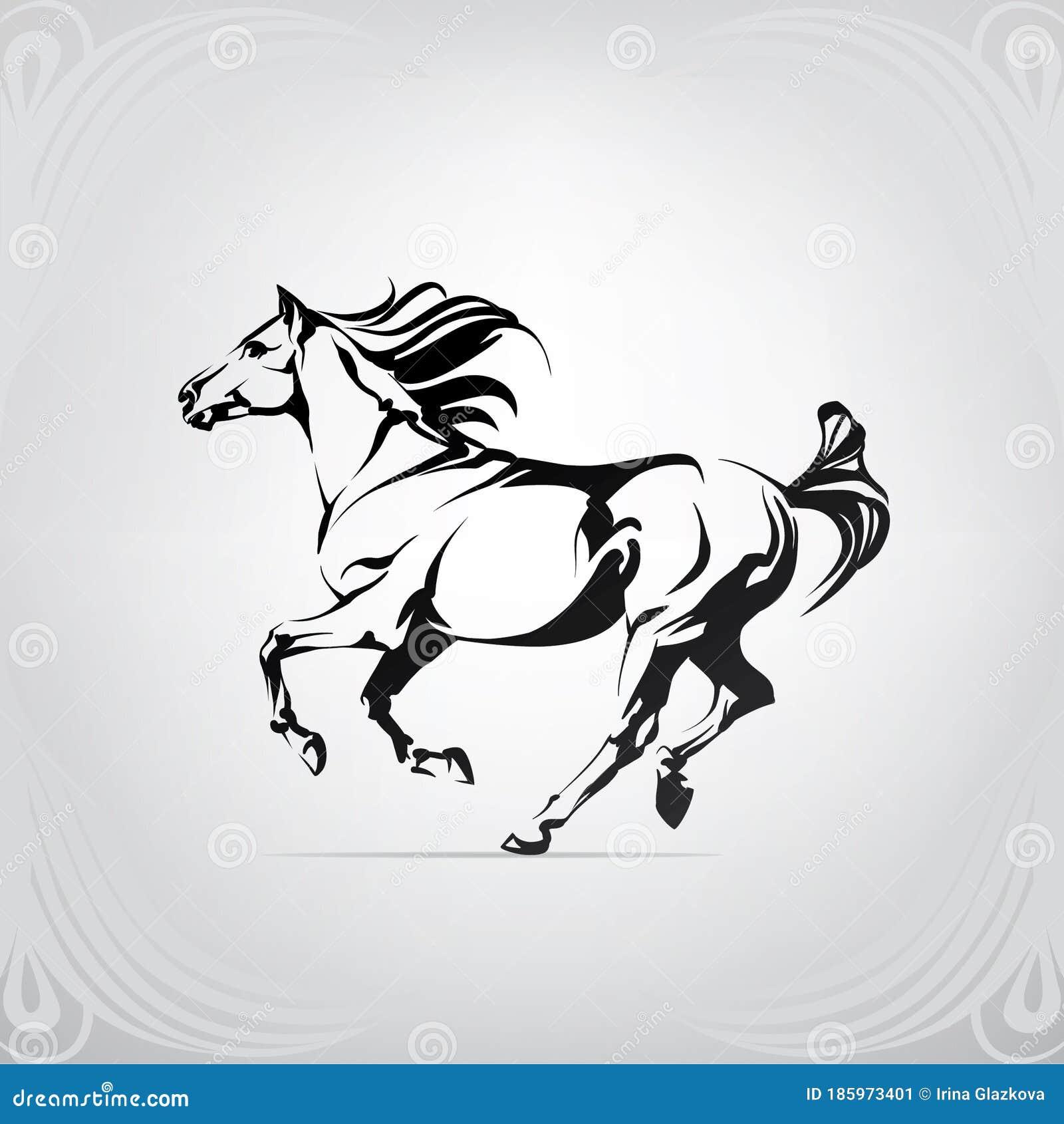 Vector Silhouette Of A Running Horse Vector Illustration Stock Vector Illustration Of Black Outline 185973401