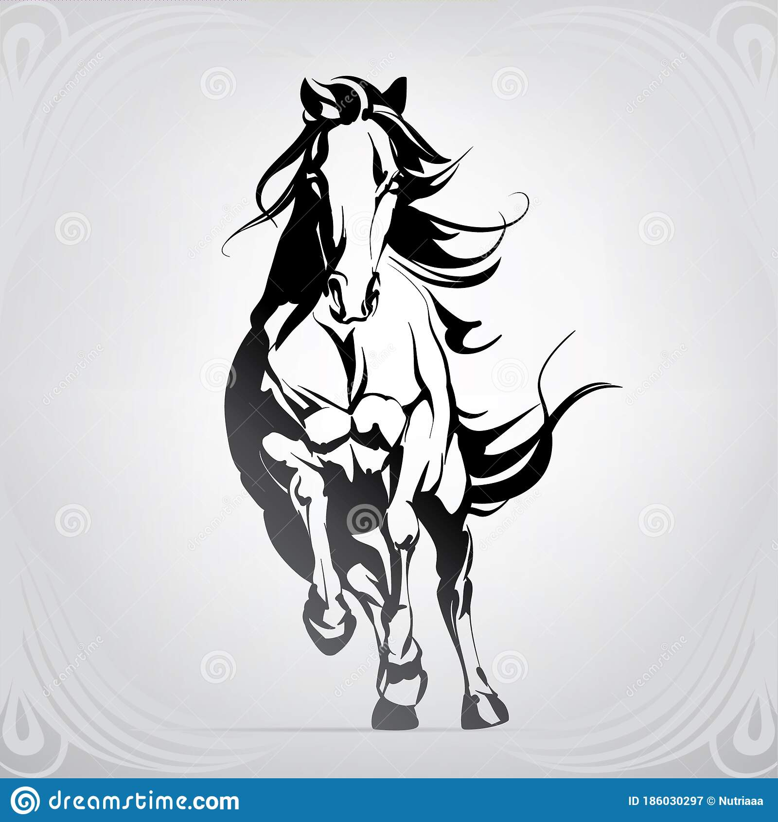 Vector Silhouette Of A Running Horse Vector Illustration Stock Vector Illustration Of Steed Head 186030297