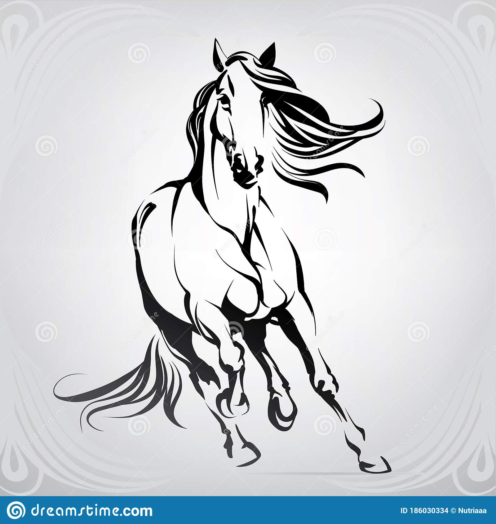 Vector Silhouette Of A Running Horse Vector Illustration Stock Vector Illustration Of Outline Nature 186030334