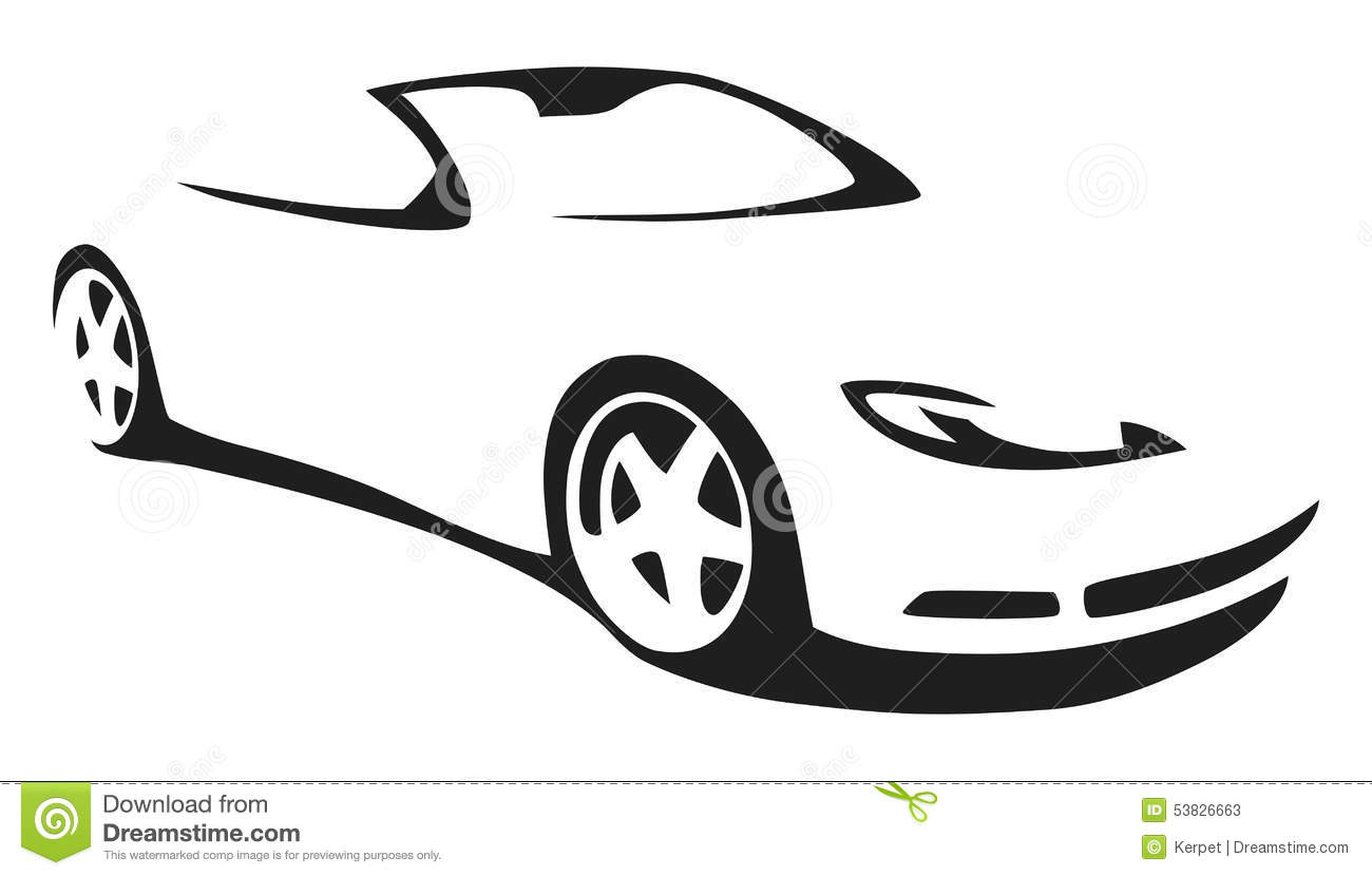 Sports car silhouette vector 17