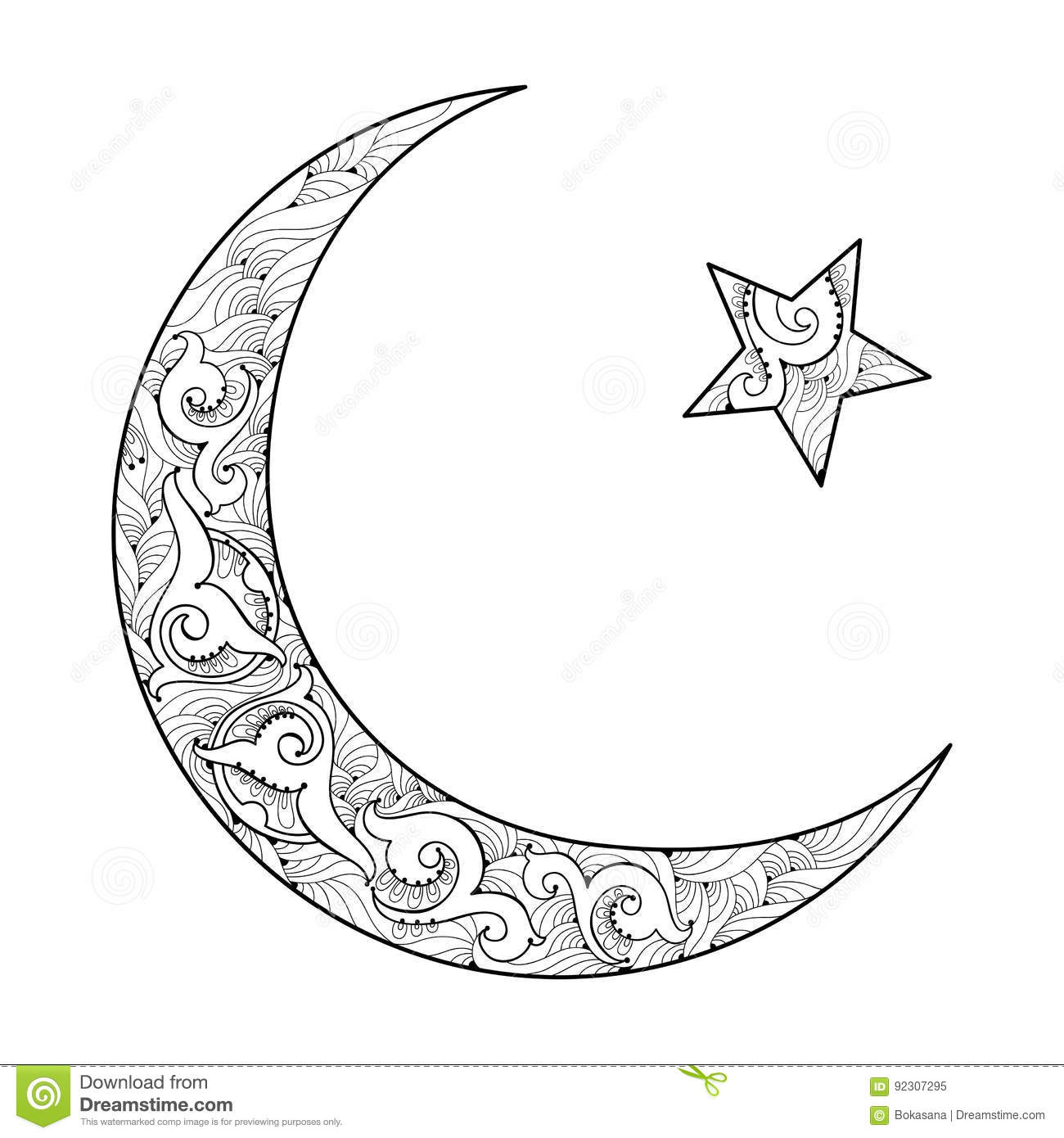 Vector silhouette of star and crescent in black isolated on white vector silhouette of star and crescent in black isolated on white background symbol of islam with ornate motif in contour style buycottarizona Gallery