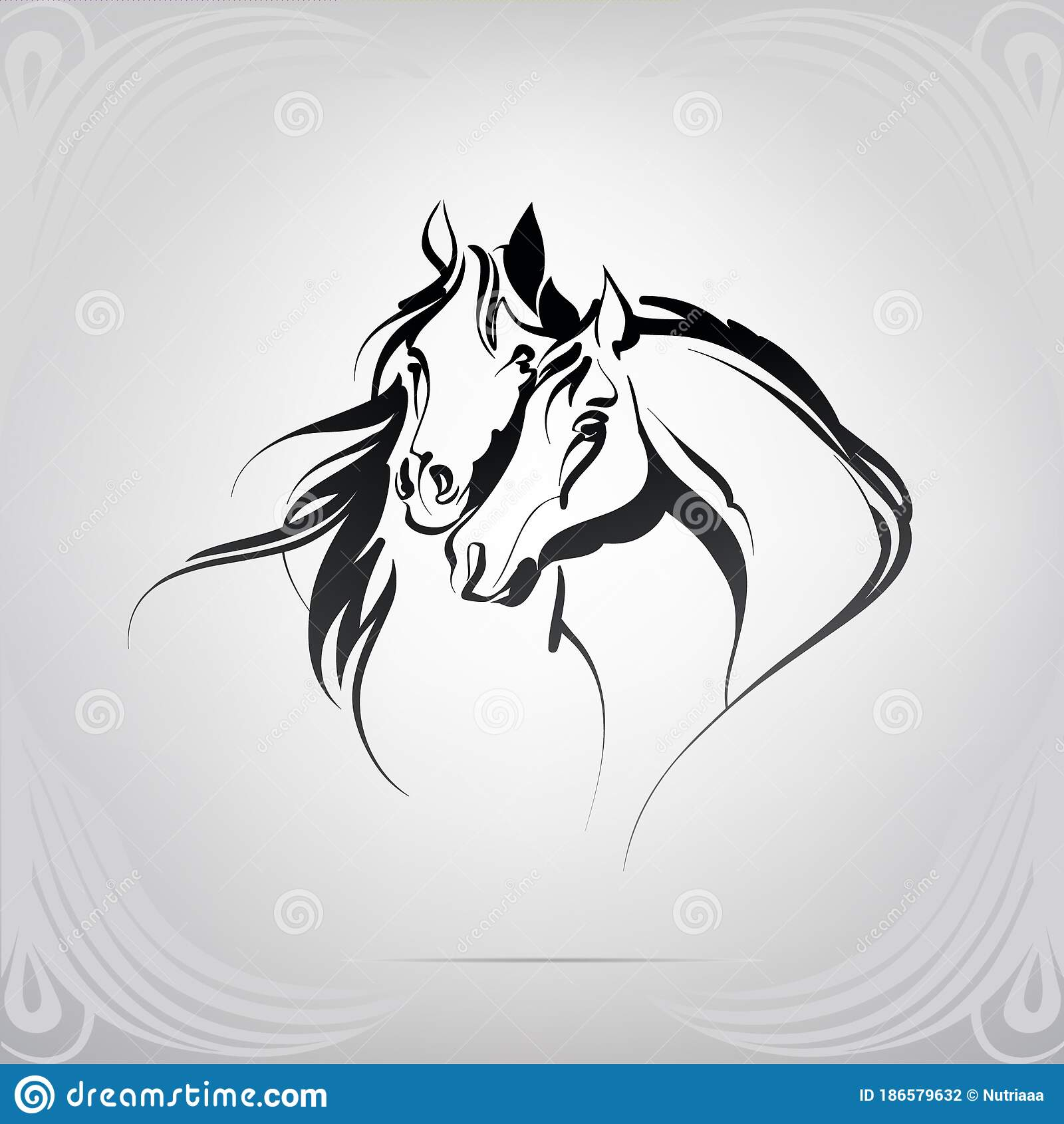 Vector Silhouette Of Two Horses Vector Illustration Stock Illustration Illustration Of Tattoo Sport 186579632