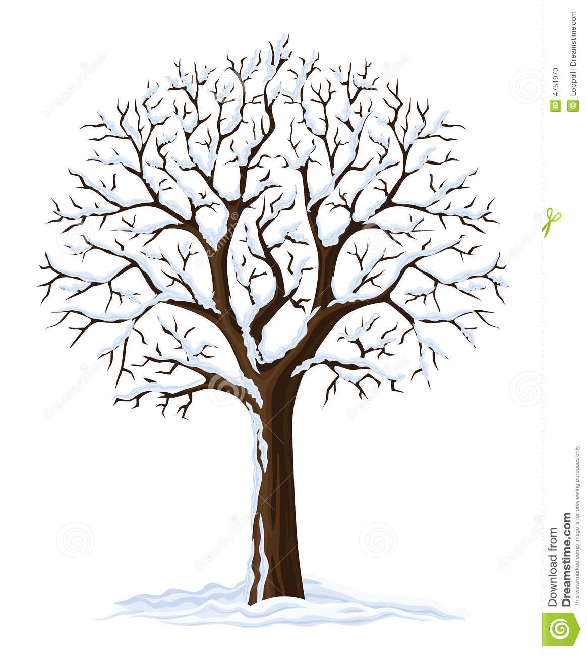 Vector silhouette of winter season tree isolated on the white ...