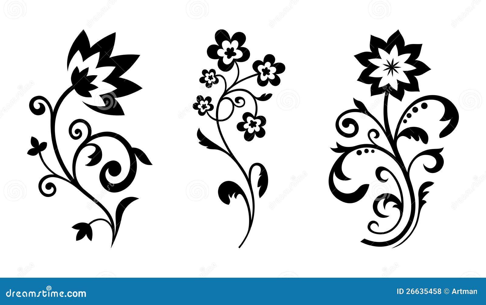 Vector silhouetten van abstracte uitstekende bloemen