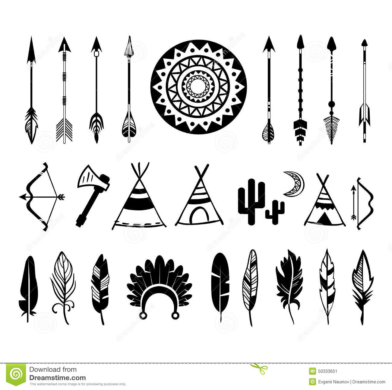 Vector Silhouettes Of The Bow And Arrow Stock Vector - Image: 50333651