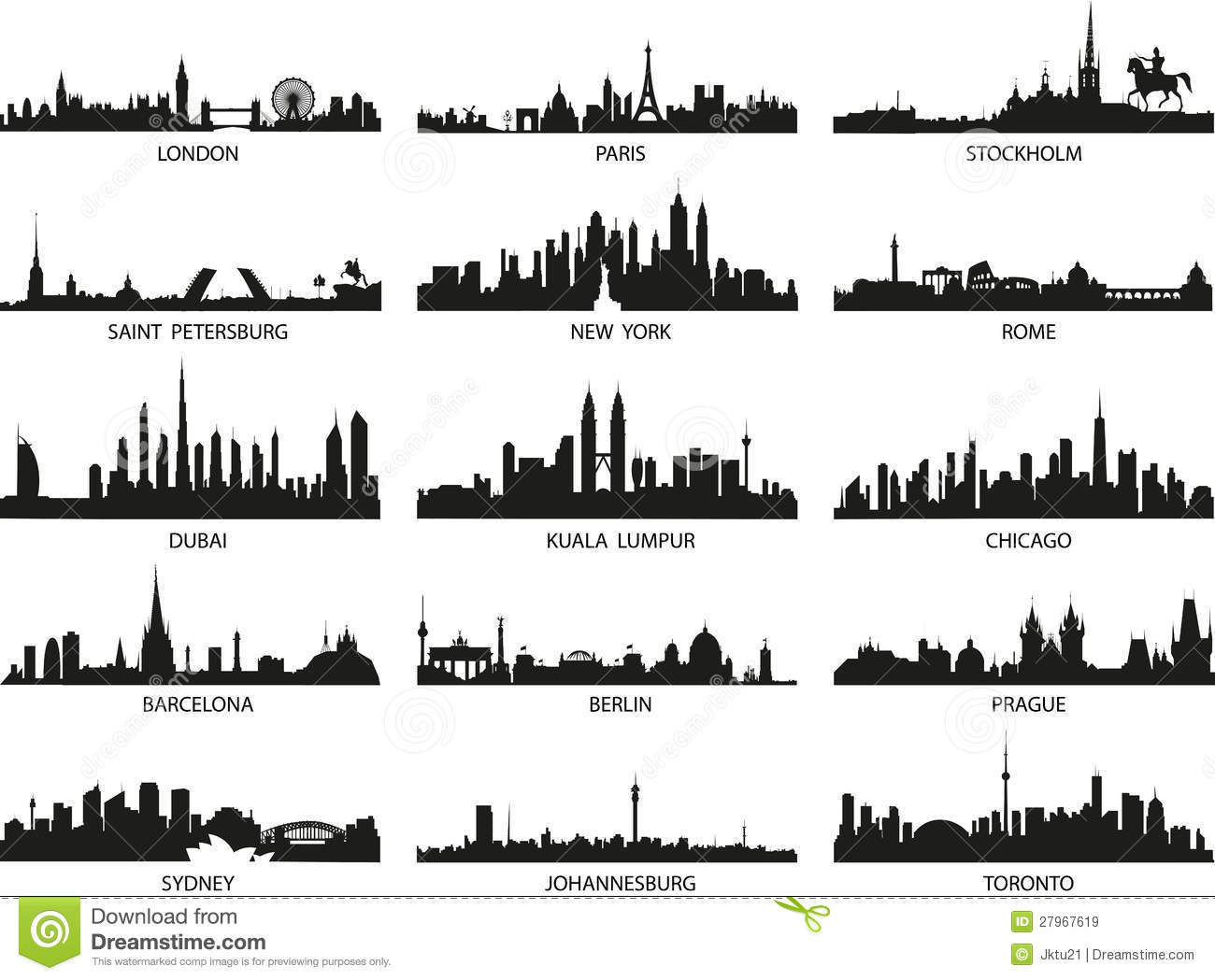 vector silhouettes of the city skylines stock vector illustration