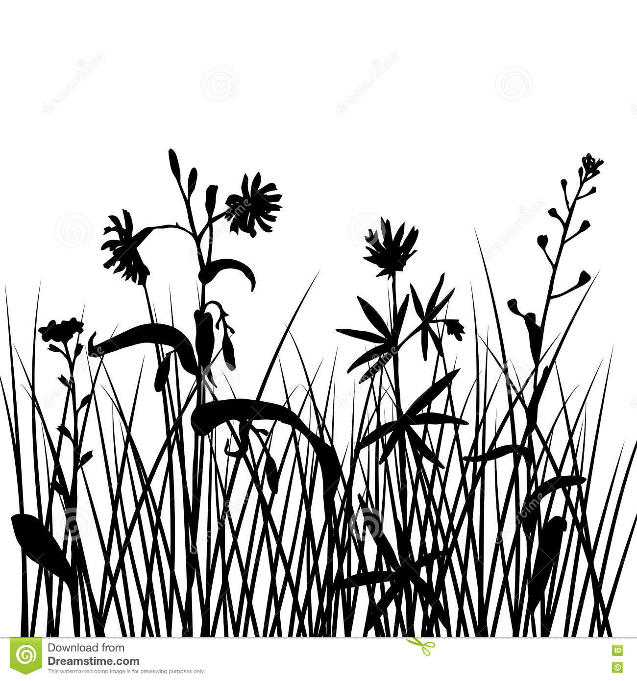 Vector Silhouettes Of Flowers And Grass Stock Vector - Illustration ...