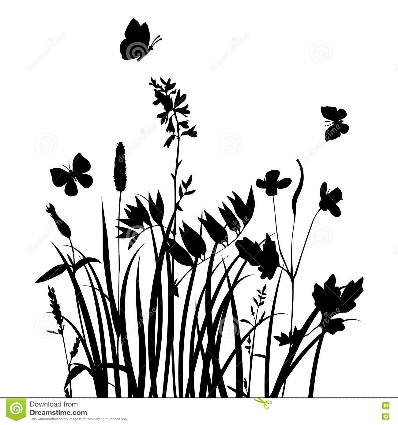 Vector Silhouettes Of Flowers And Grass With Butterflies Stock ...
