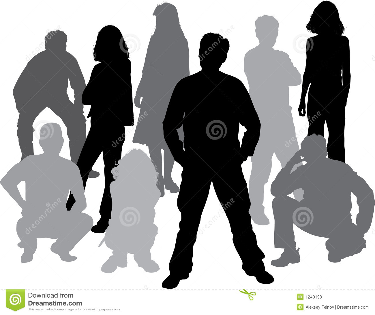 Vector silhouettes friends (man and women)