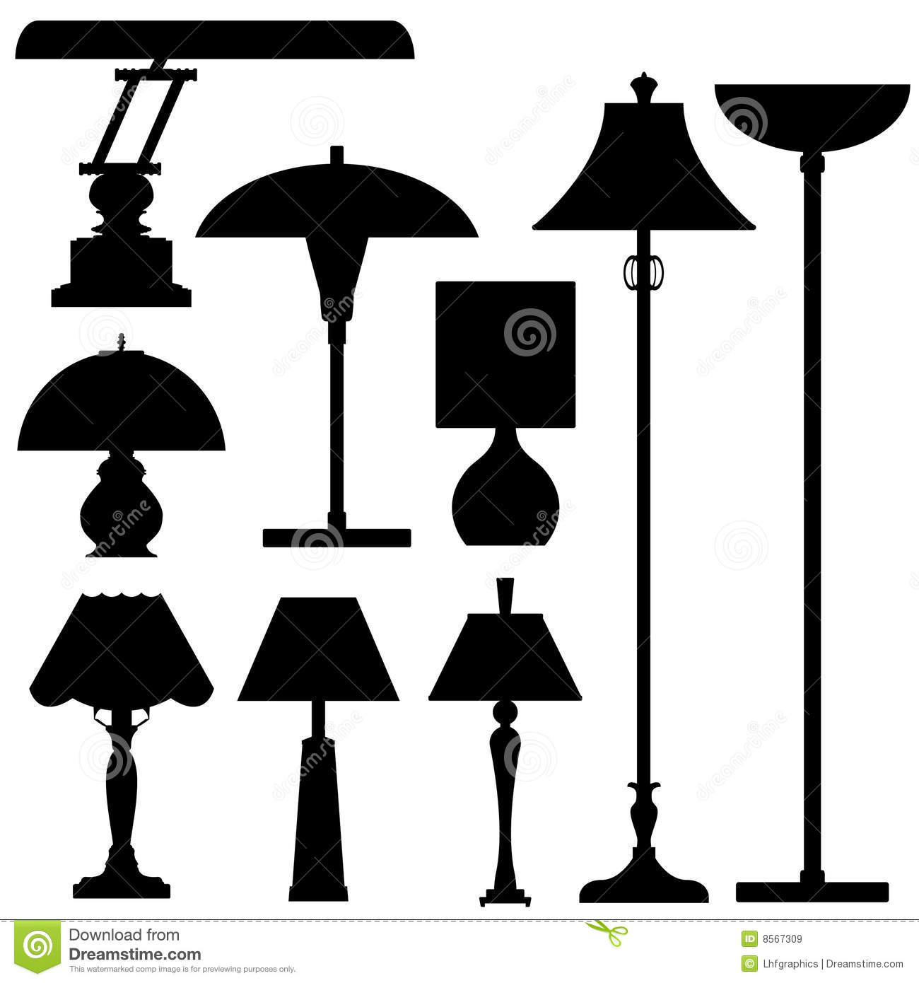 Vector Silhouettes Of Lamps And Lighting Royalty Free