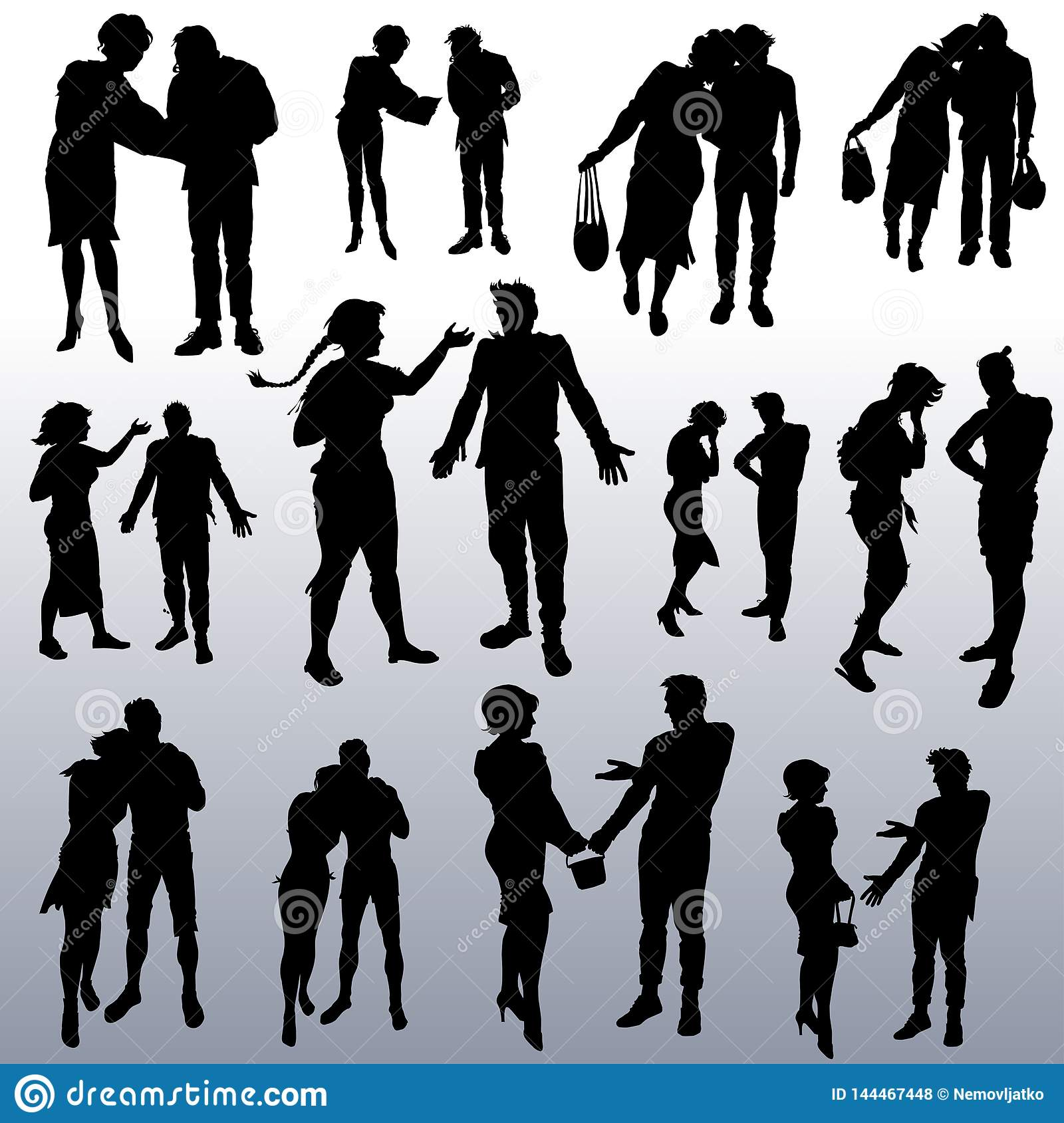 Vector silhouettes of people of different ages