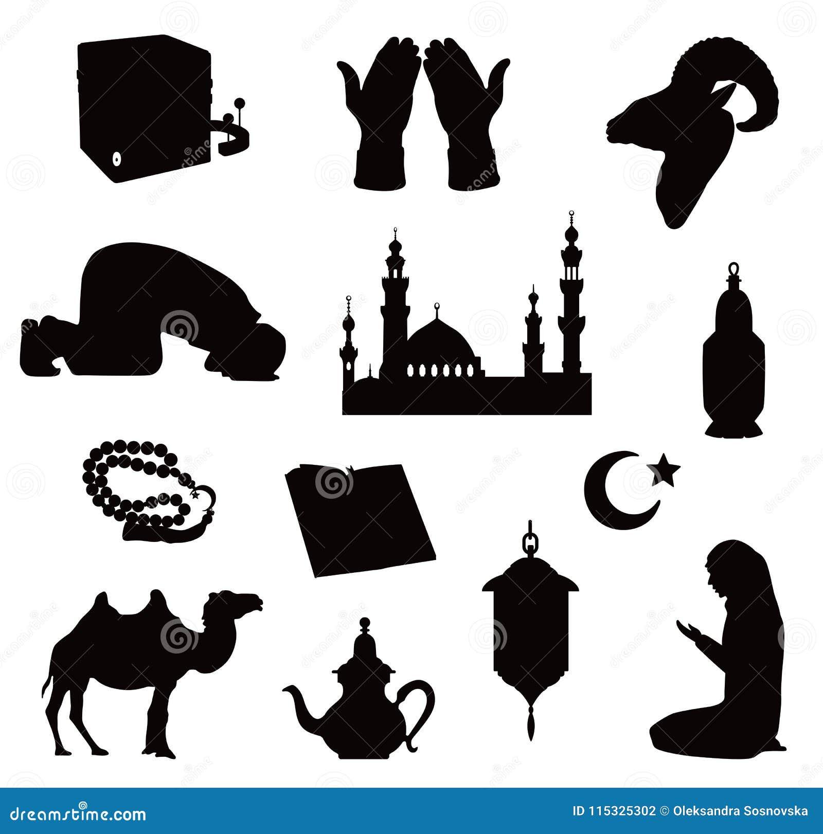 Black Silhouettes Of Muslim Symbols Vector Illustration Stock