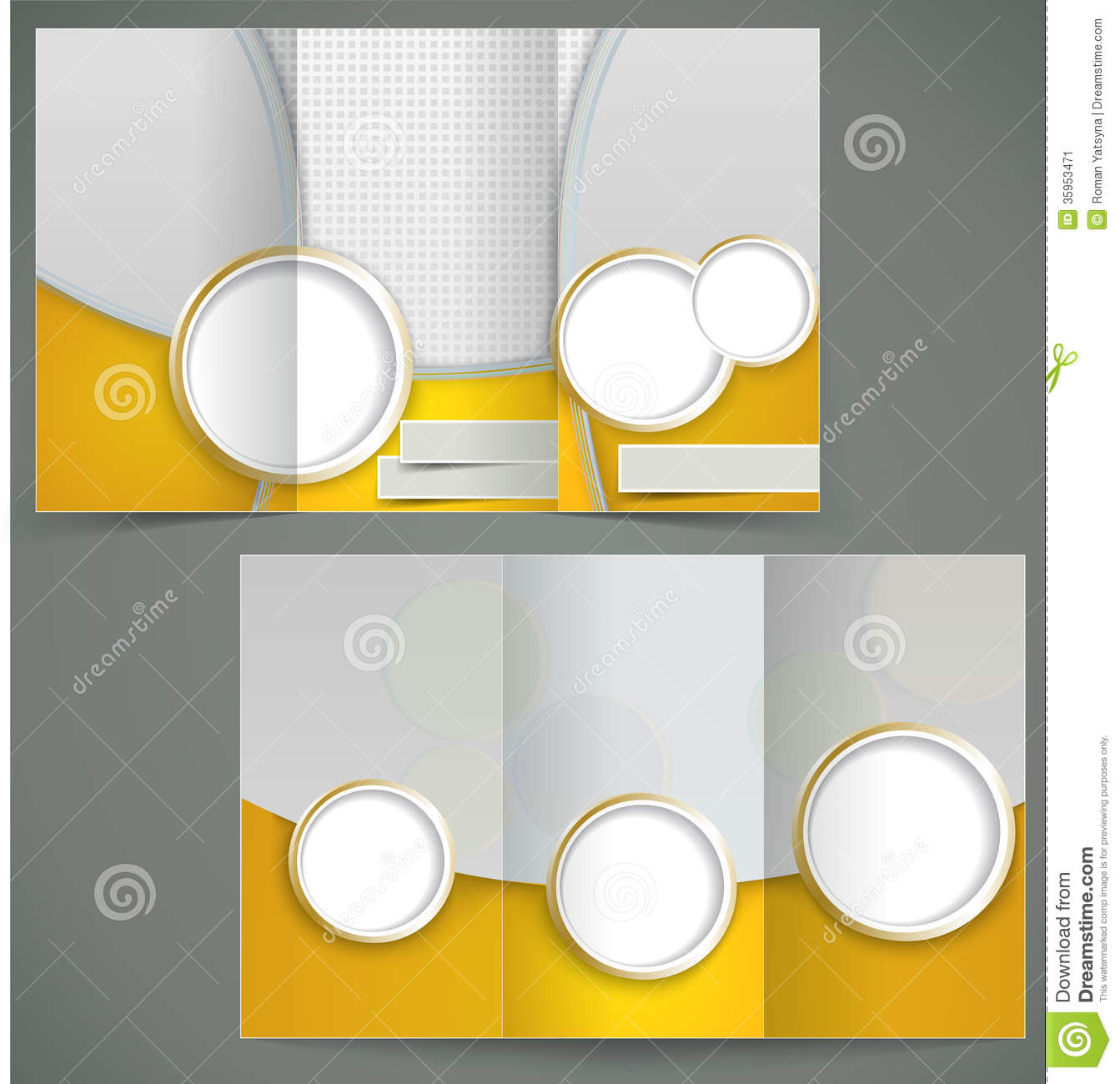 Vector silver brochure layout design with yellow elements, business ...