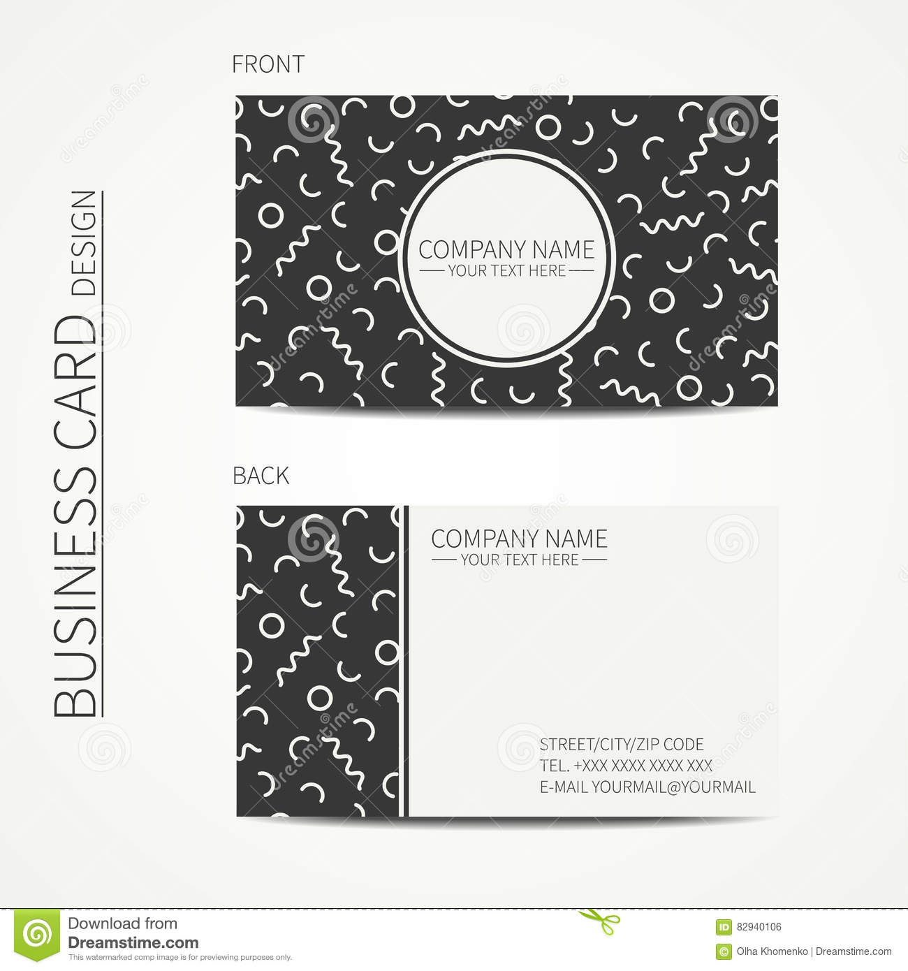 Business card template in the style of memphis cartoon for Business cards memphis