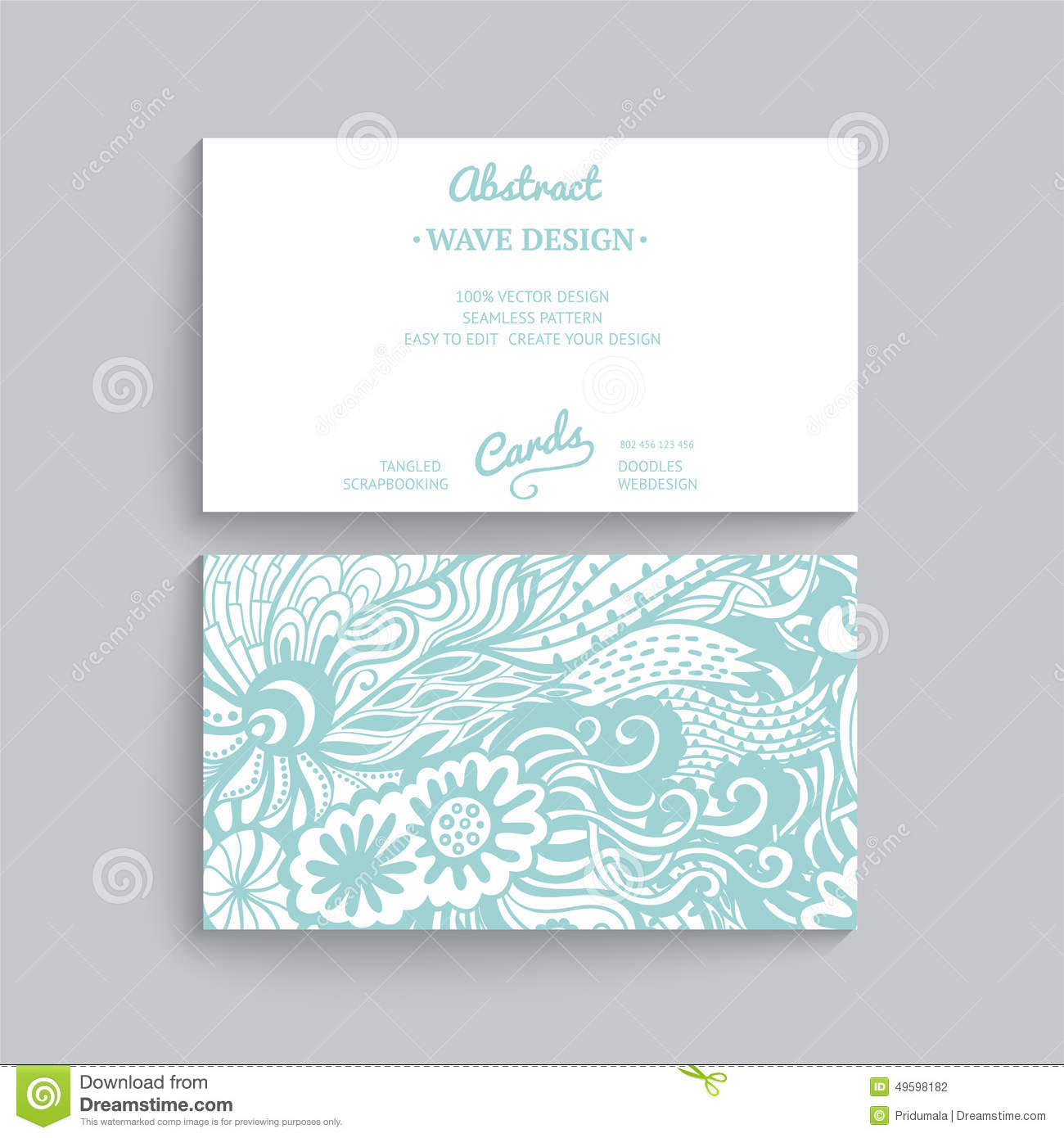 Vector Simple Business Card Template With Decorative Ornament, Stock ...