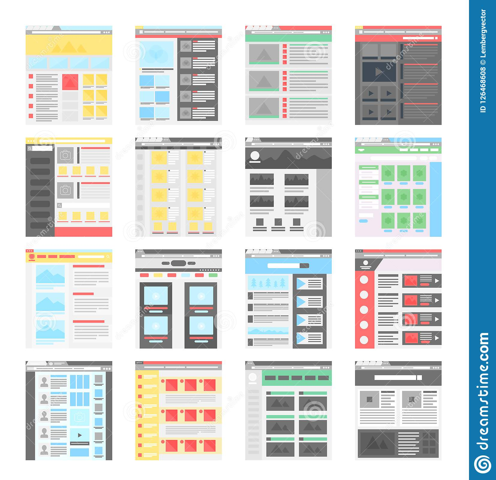 Vector simple flat website design templates icons set.