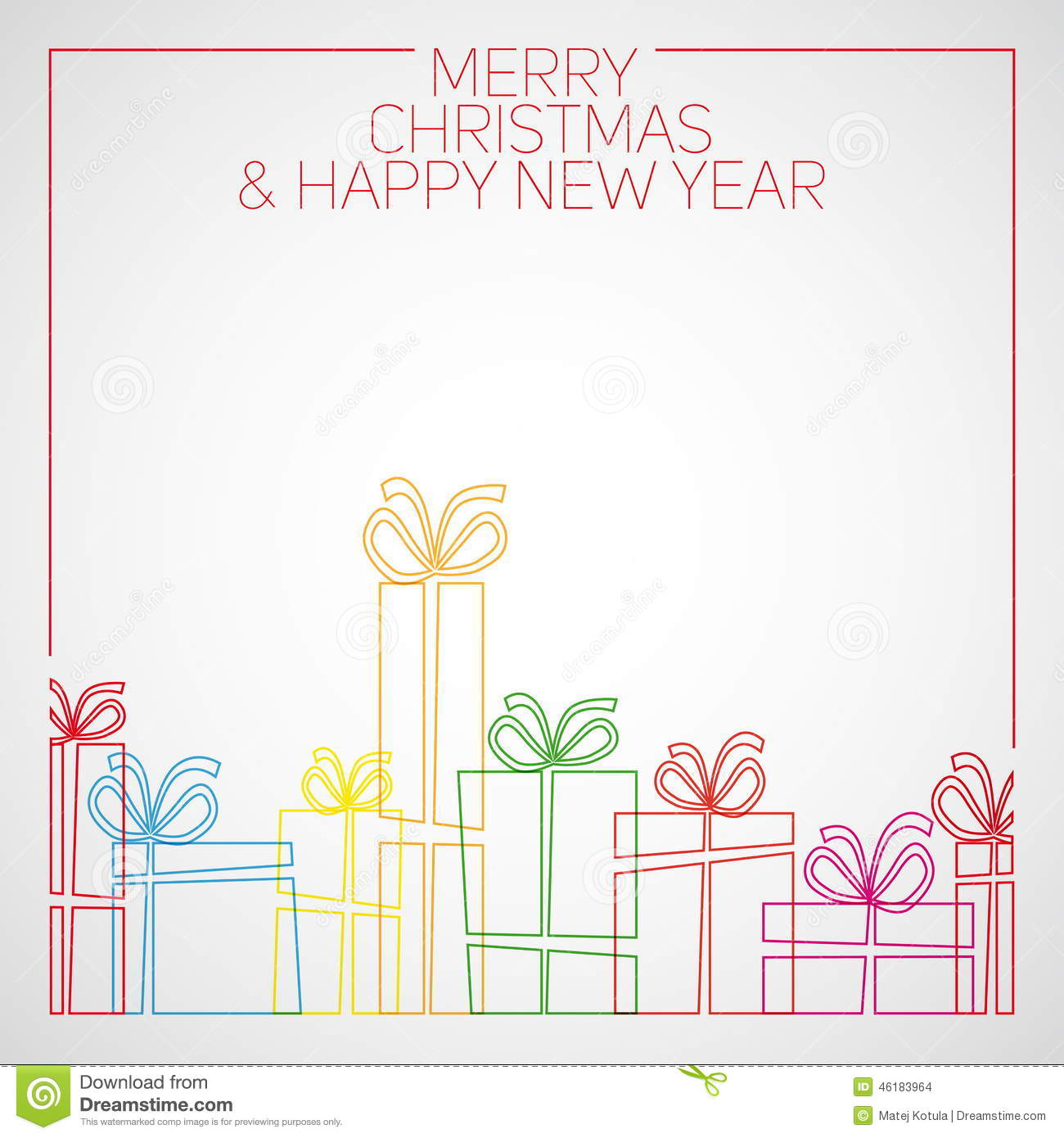 Line Art Card Design : Vector simple line drawing christmas card