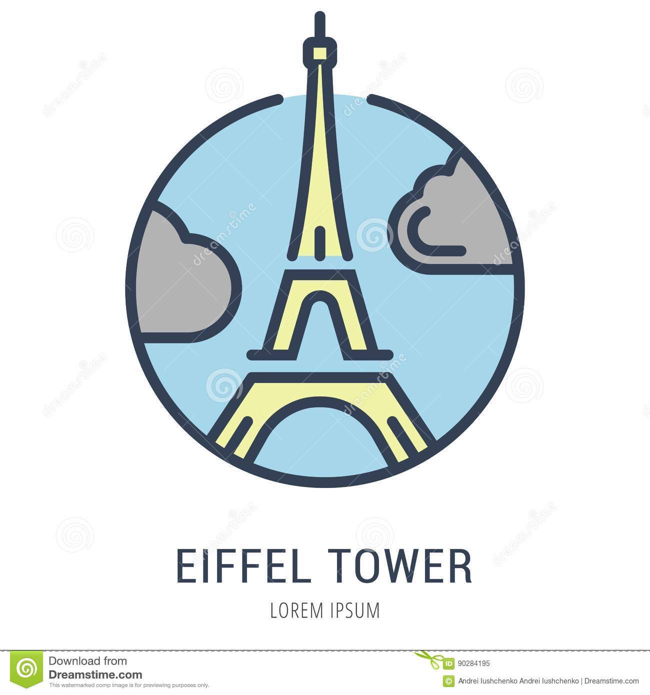 vector simple logo template eiffel tower stock illustration