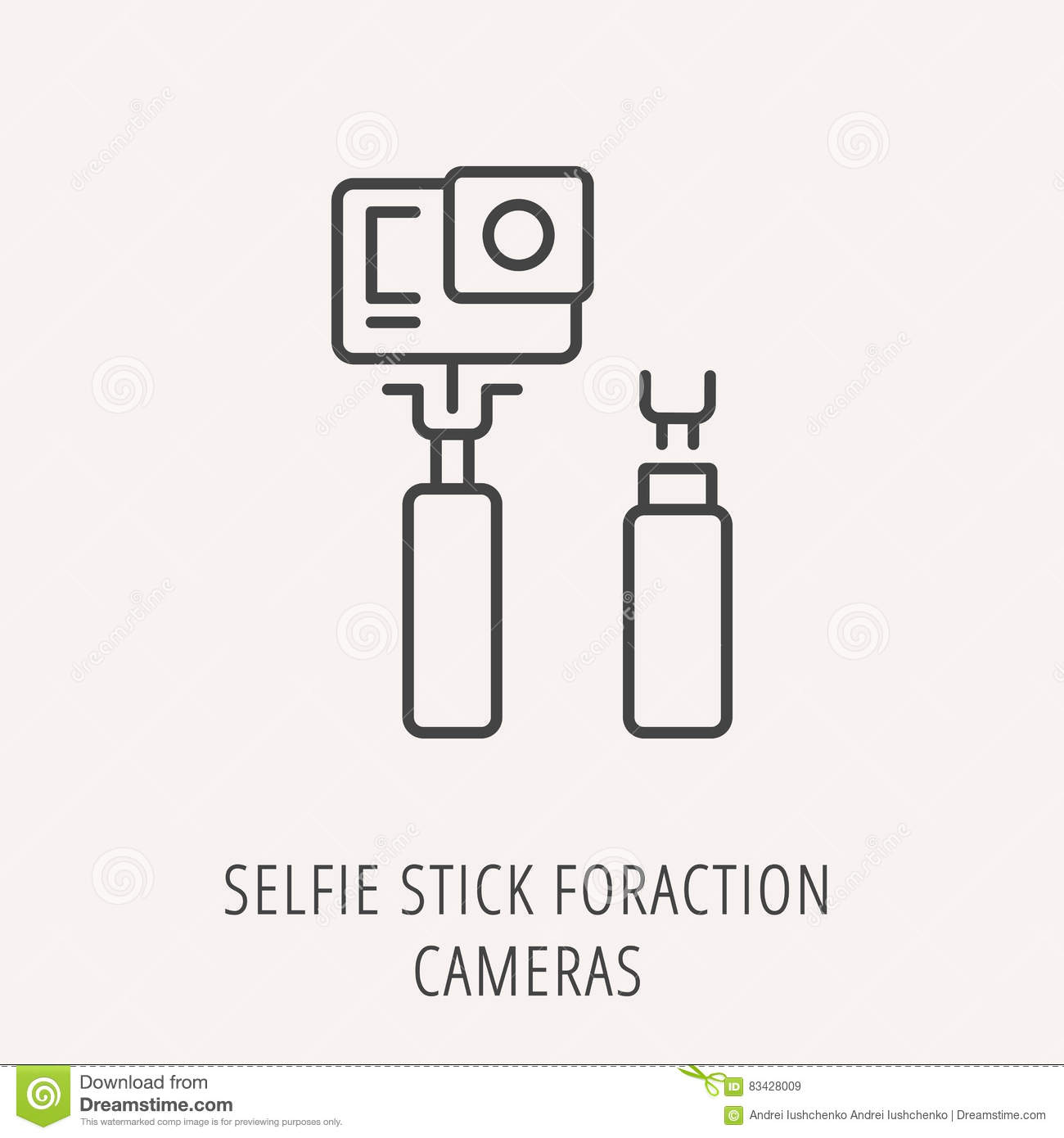 vector simple logo template selfie stick for action cameras stock
