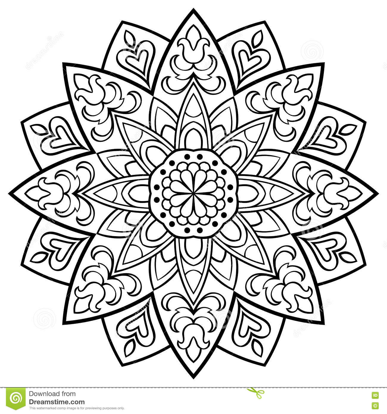 Tattoo Designs White Background: Vector Simple Mandala. Vector Illustration