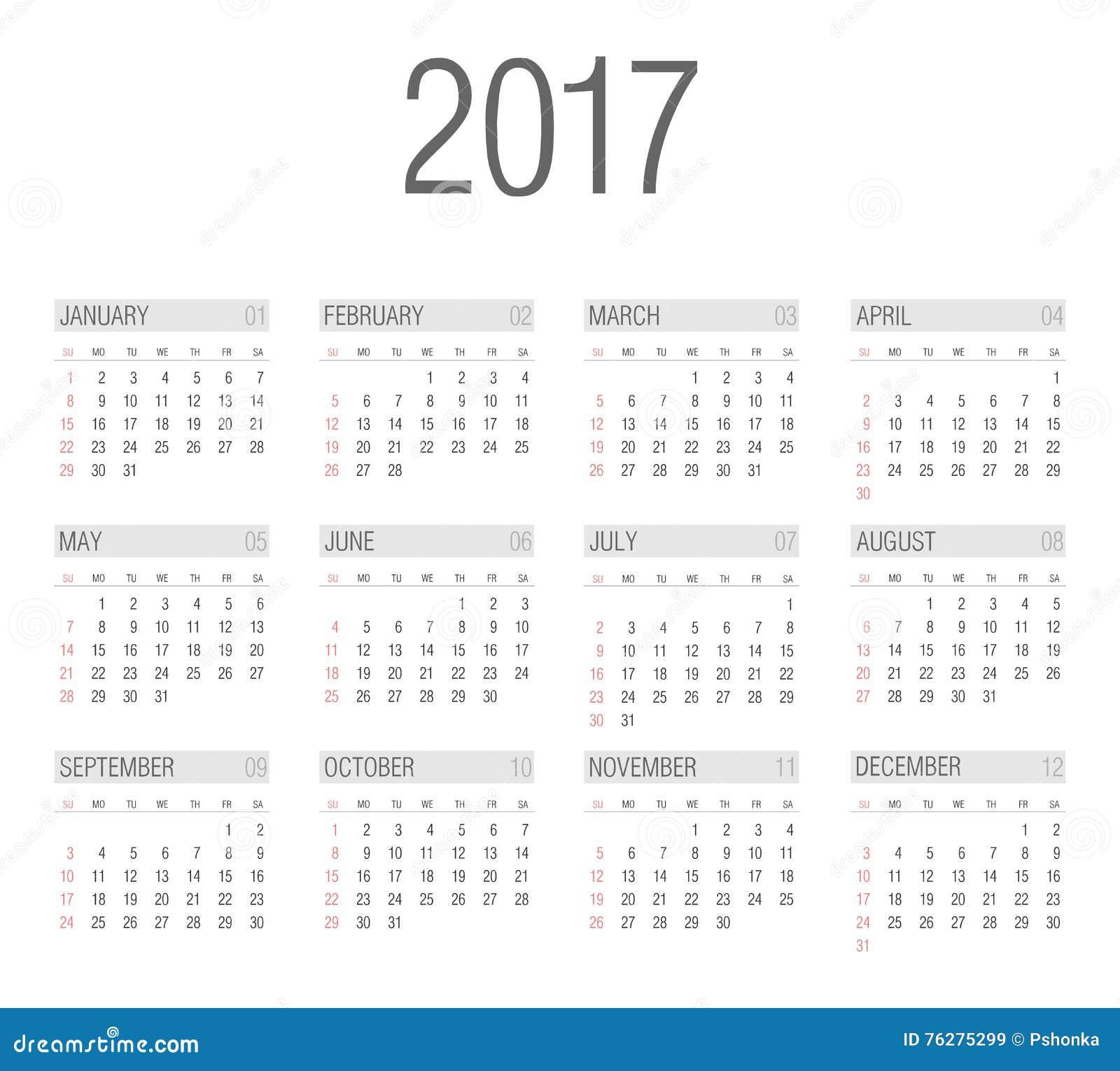 Vector Simple 2017 Year Calendar Stock Vector - Image: 76275299