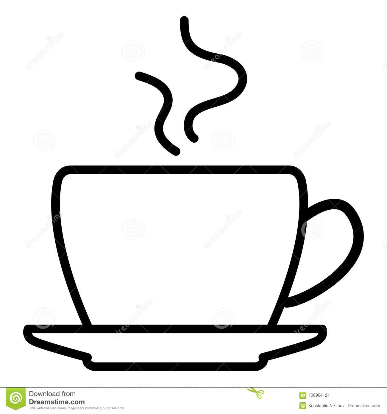 Vector Single Icon Of Coffee Cup With Saucer Stock Vector Illustration Of Break Cappuccino 106904121
