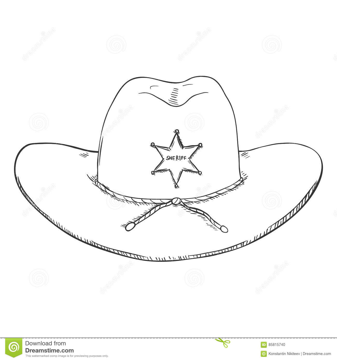 92947467 Vector Single Sketch Sheriff Hat on White Background. More similar stock  illustrations
