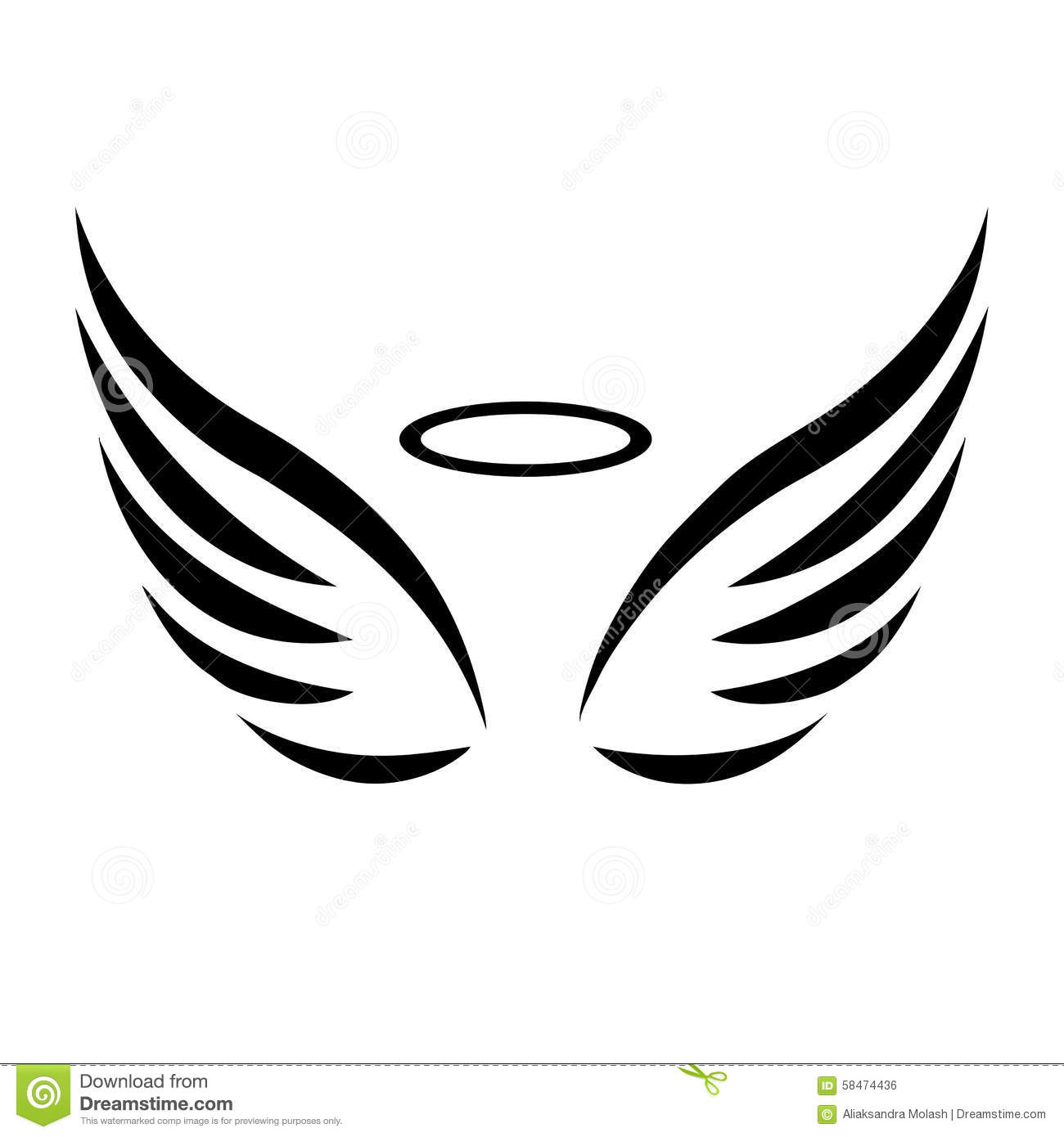 free angel wings with halo clip art - photo #44