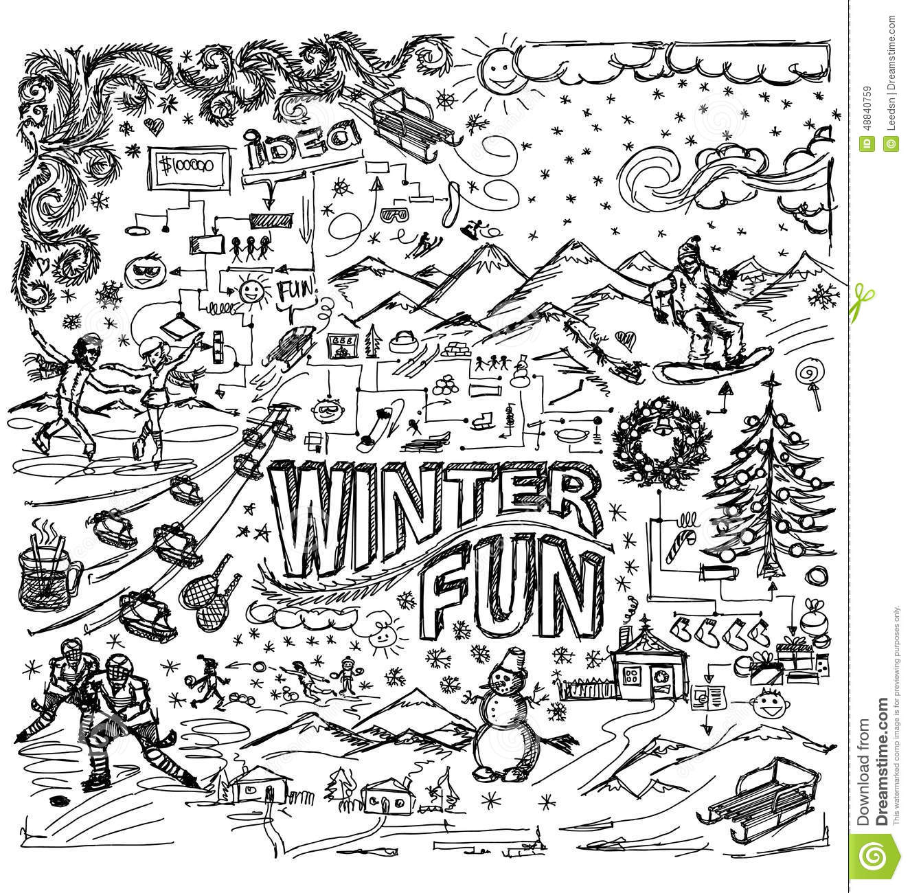 e5e088c6785d Vector Sketch Background With Winter Fun Illustration 48840759 ...