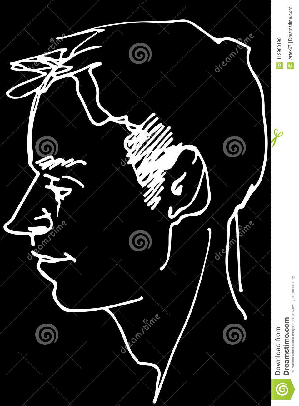 Vector sketch of a beautiful man profile