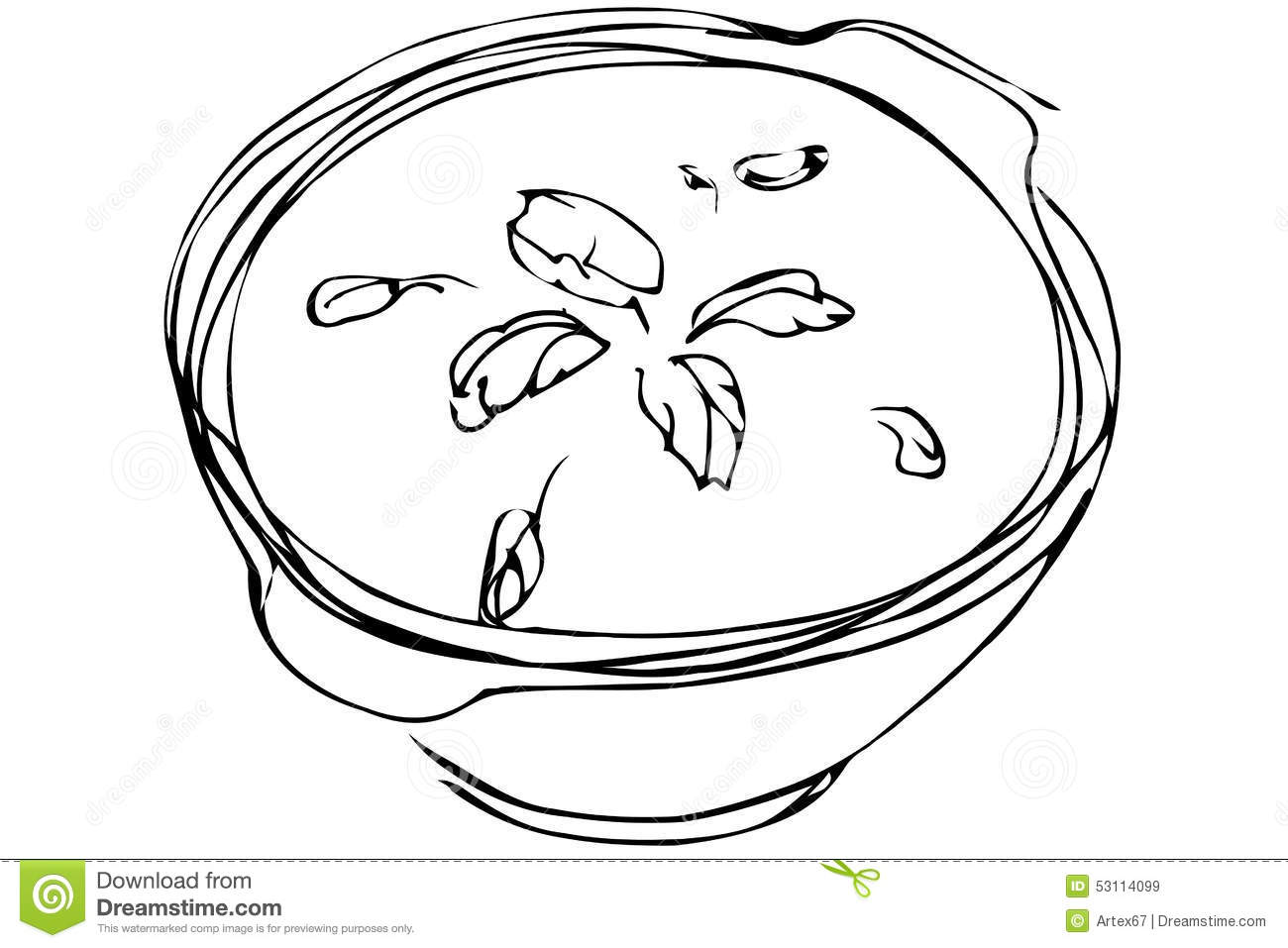 Vector Sketch Bowl Of Soup With Herbs Stock Vector - Image: 53114099