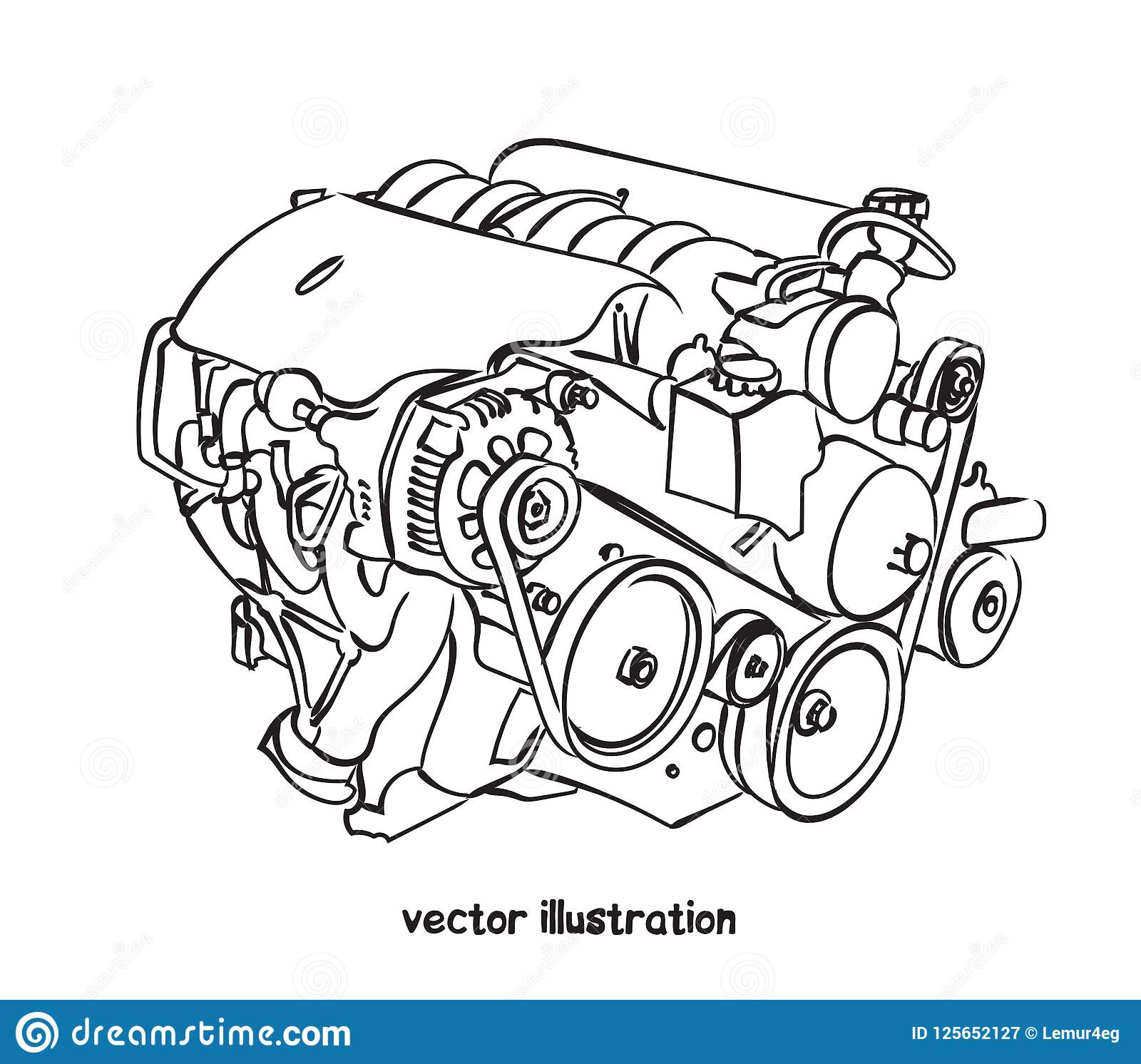 sketch of car engine  vector isolated illustration for design on white  background